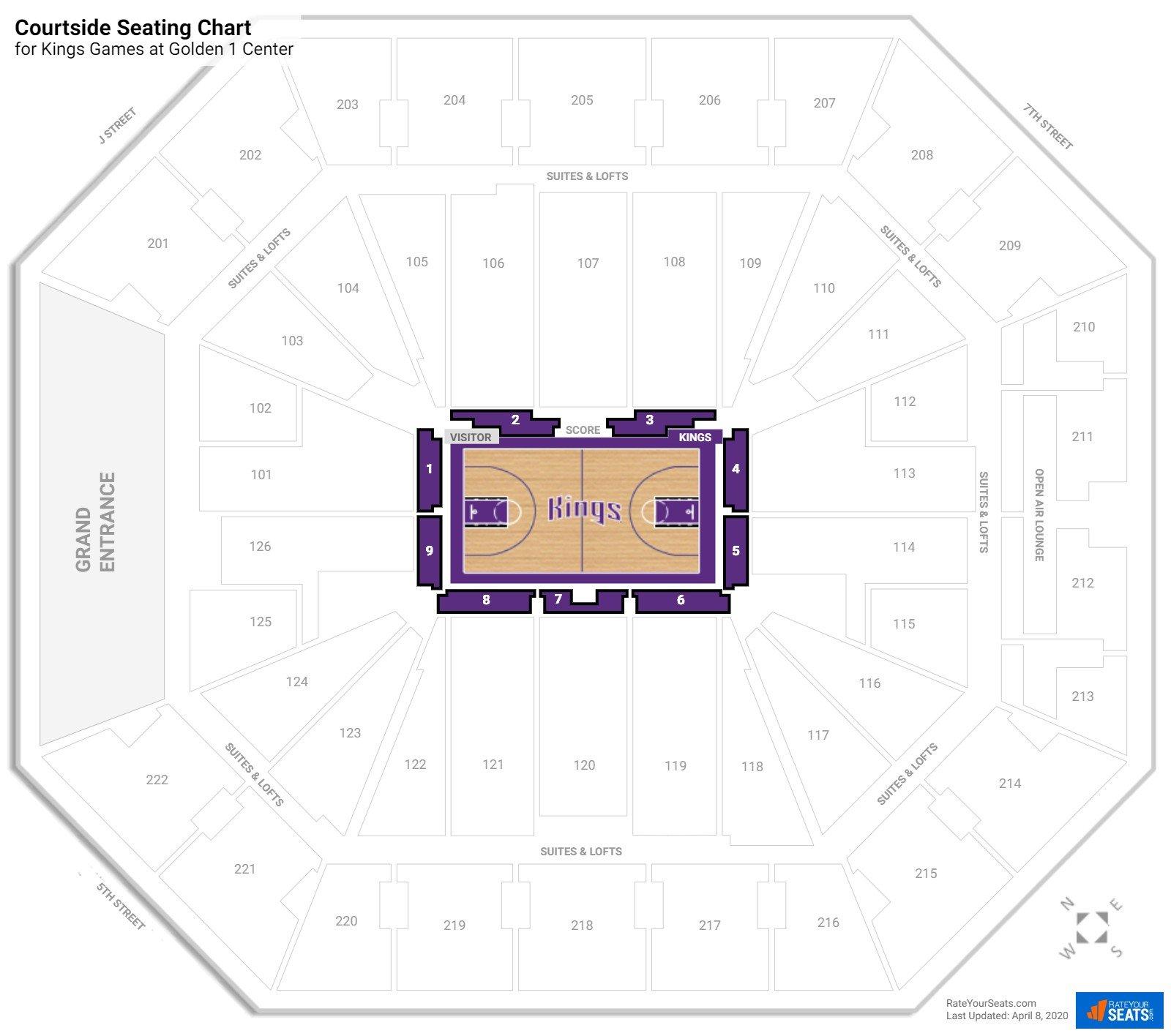 Golden 1 Center Courtside Seating Chart