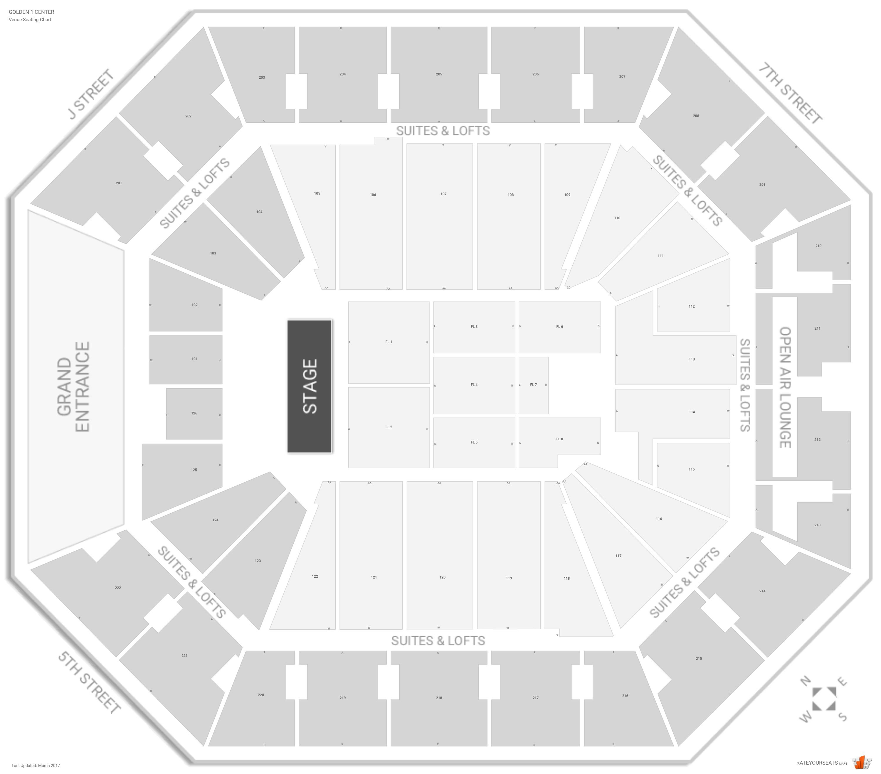Golden 1 Center Seating Chart With Row Numbers