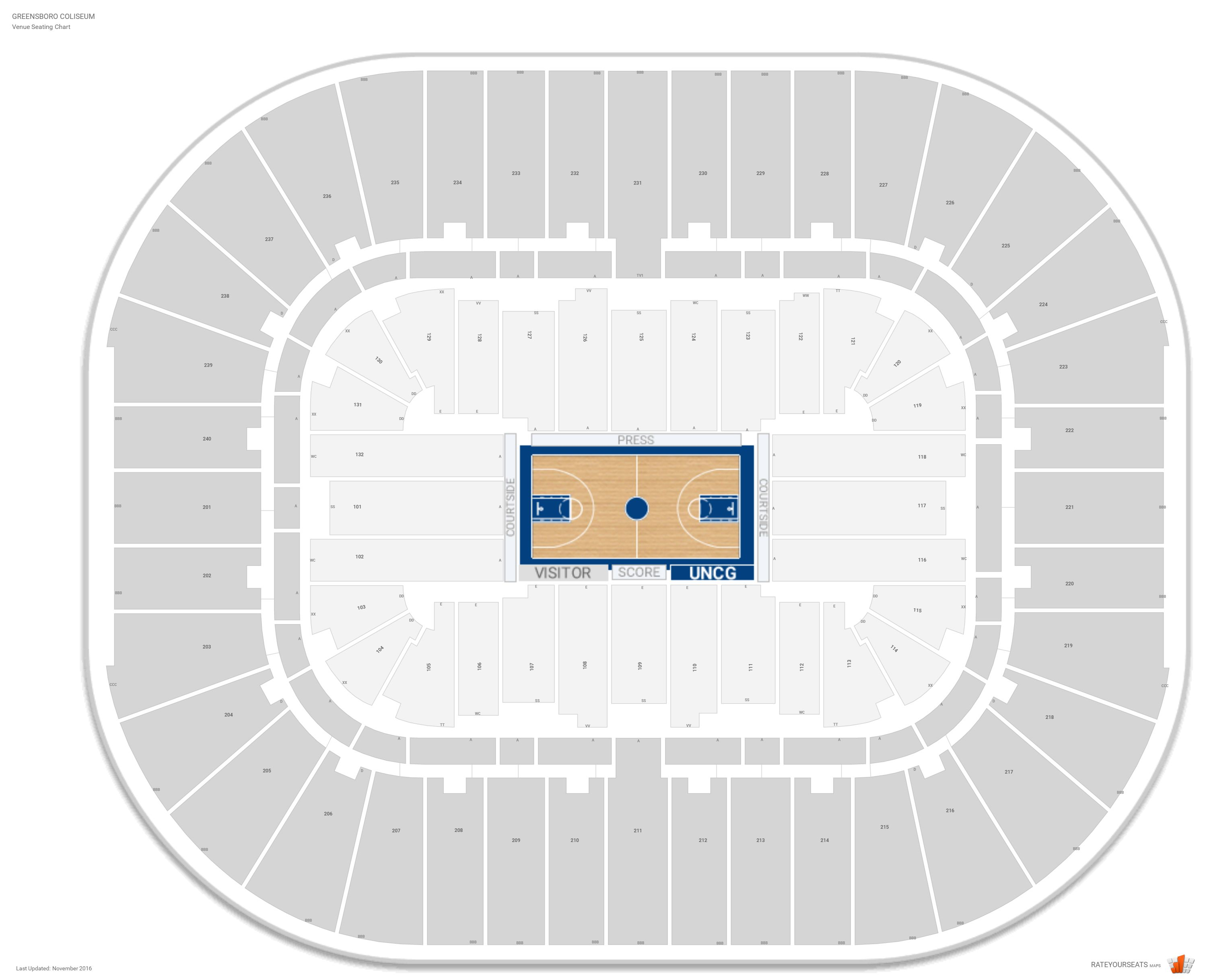 Greensboro Coliseum Seating Chart With Row Numbers