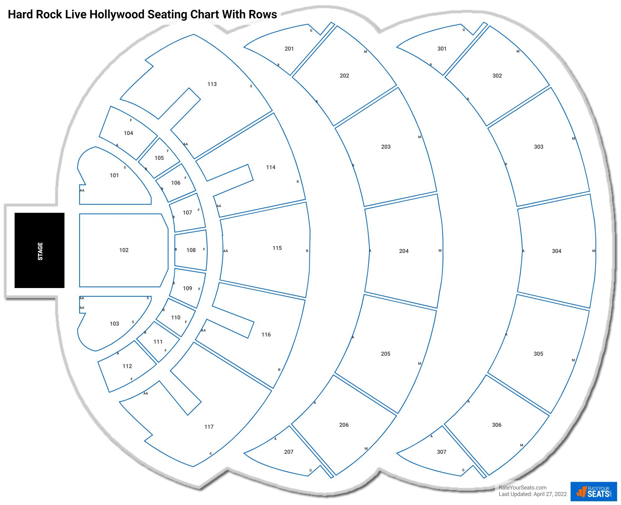 Hard Rock Live Hollywood seating chart with rows