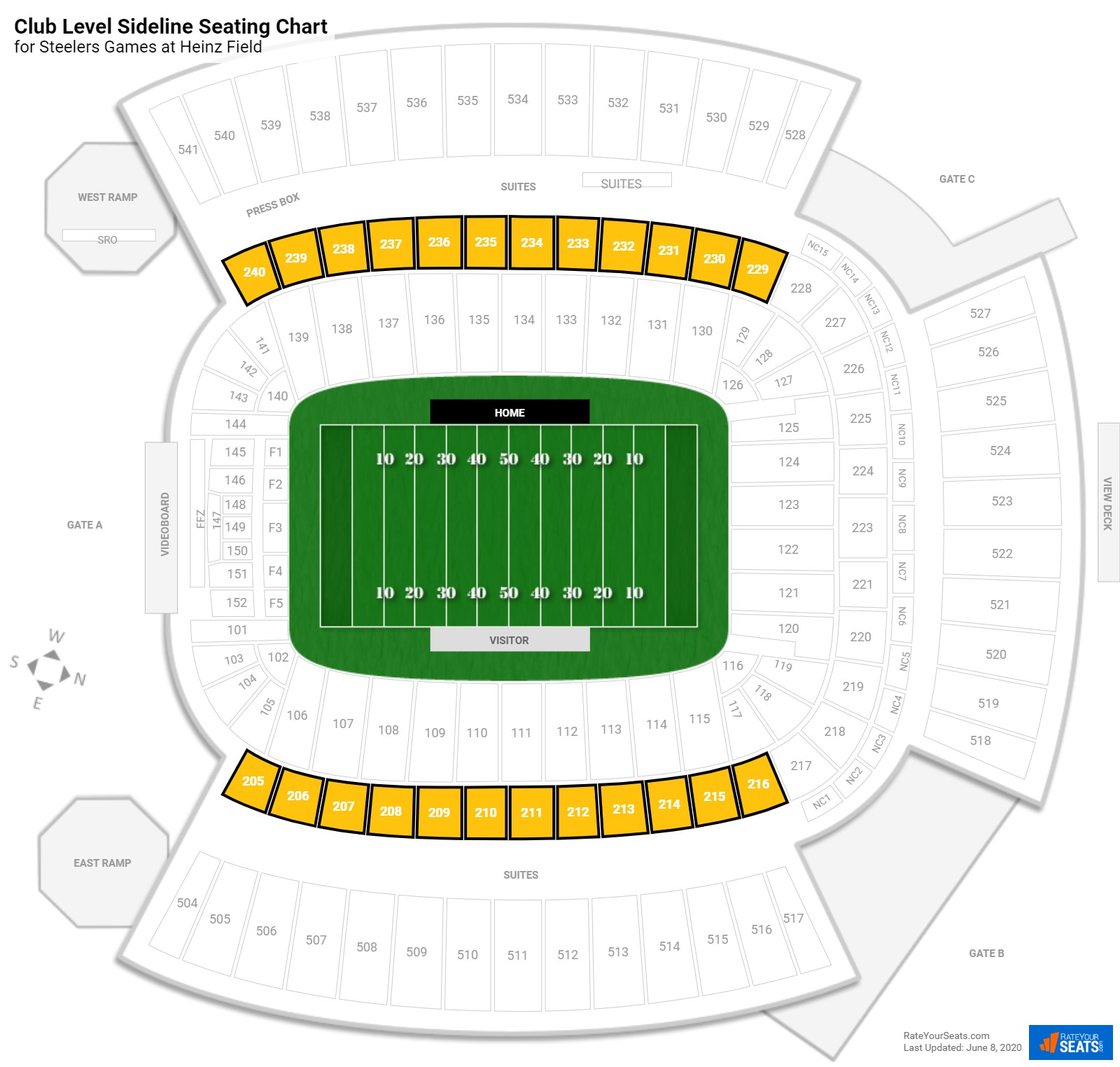 Heinz Field Club Level Sideline seating chart