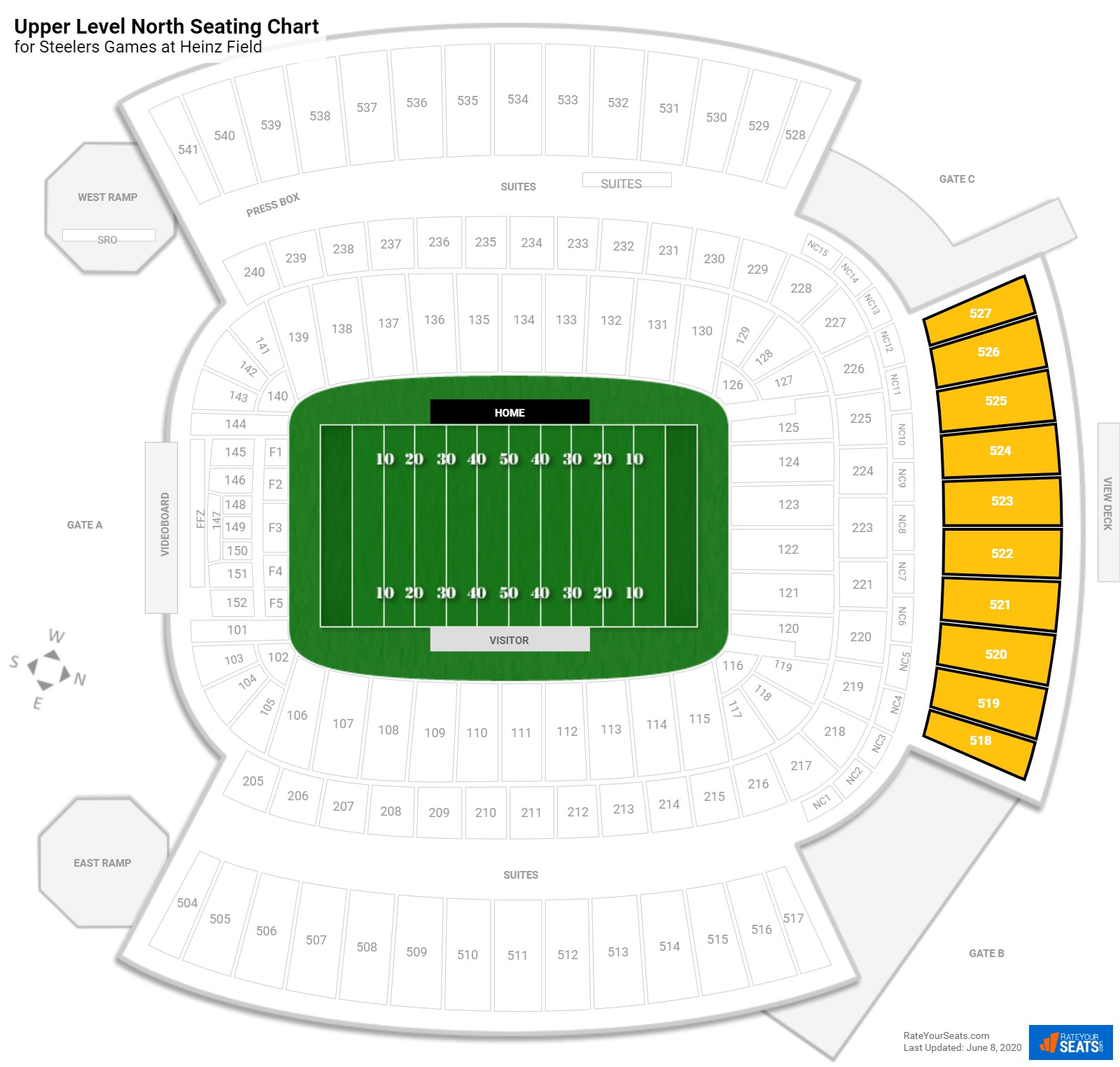 Heinz Field Upper Level North seating chart