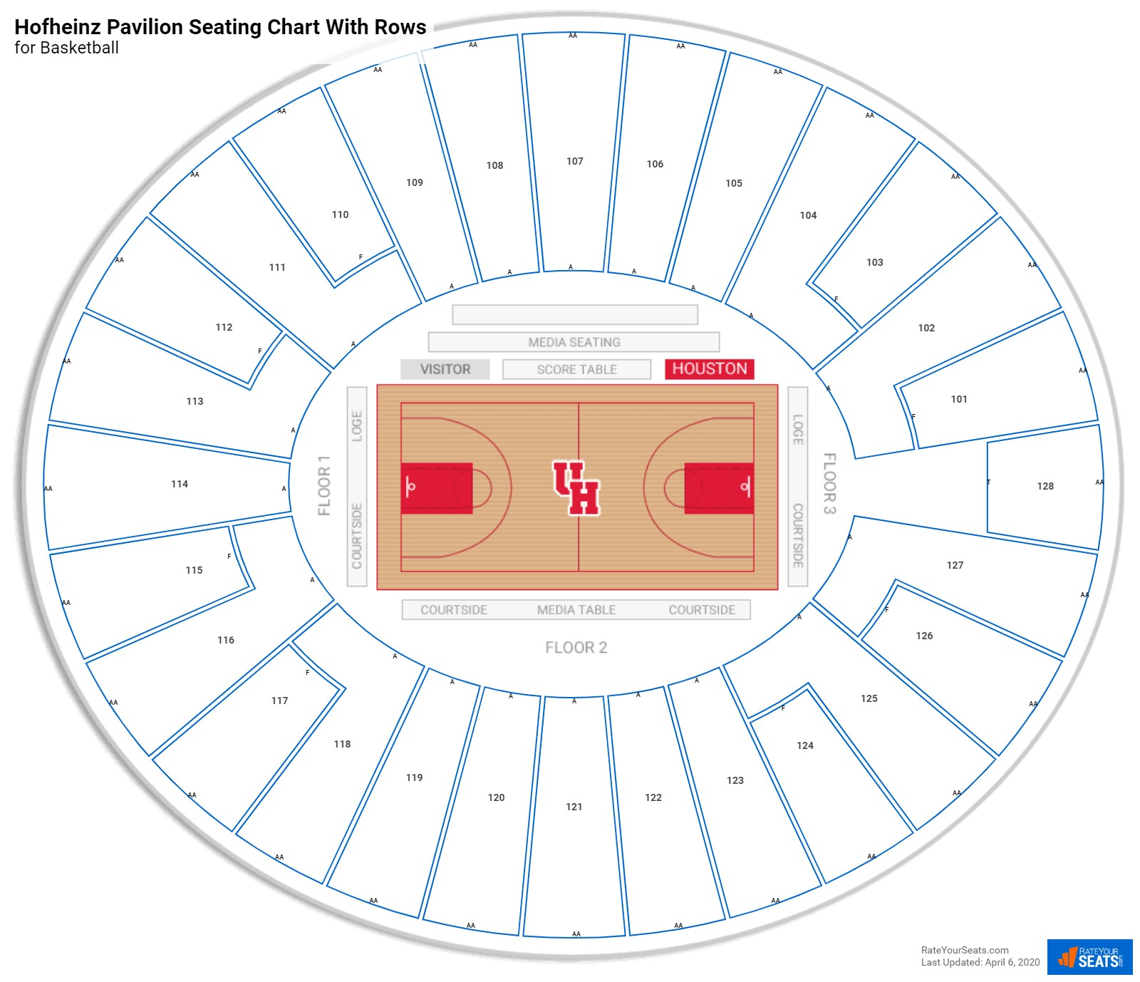 Hofheinz Pavilion seating chart with rows