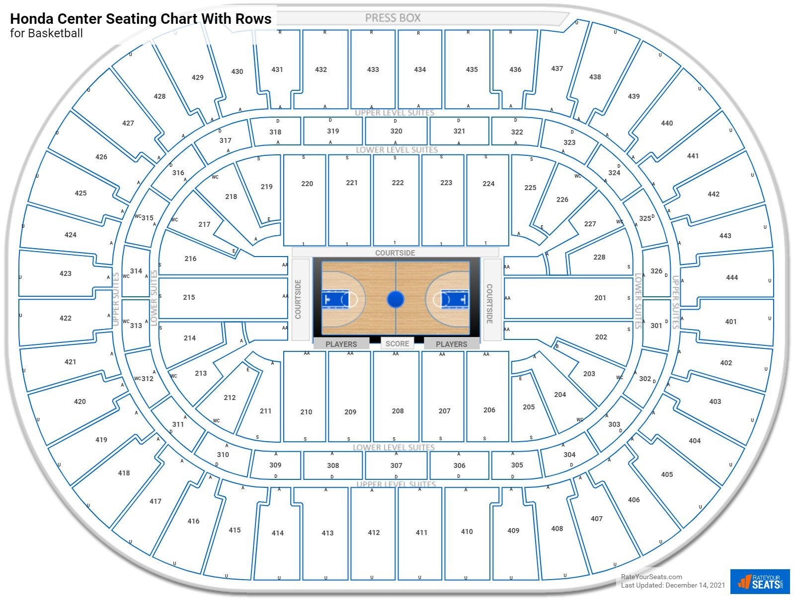 Honda Center seating chart with rows basketball