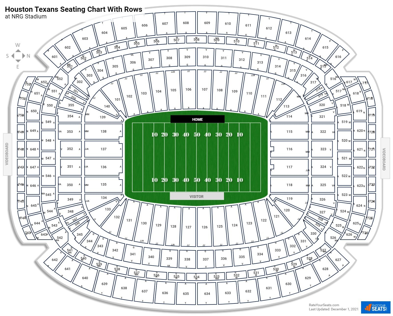 NRG Stadium seating chart with rows football