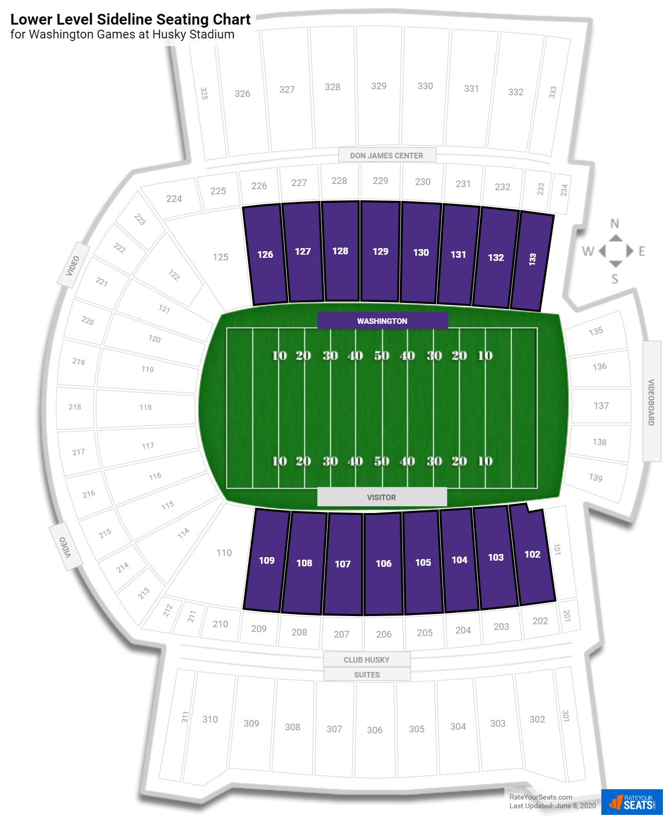 Husky Stadium Lower Level Sideline seating chart