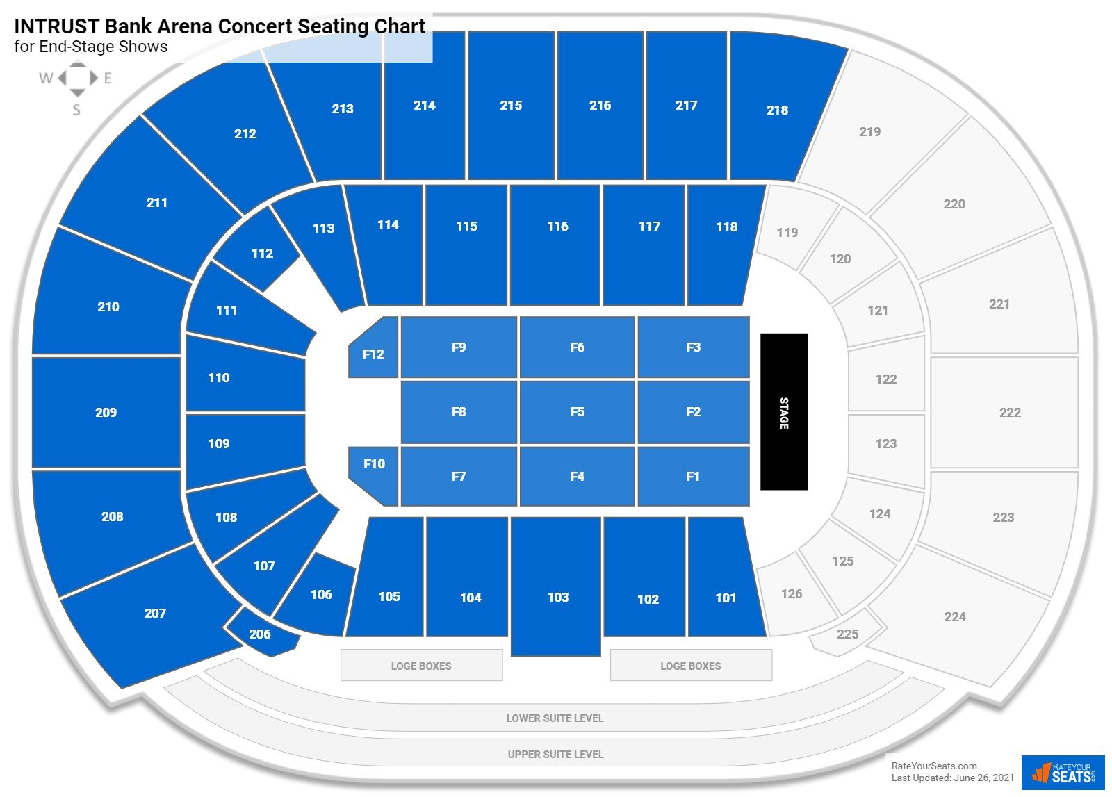 INTRUST Bank Arena Seating Chart for Concerts