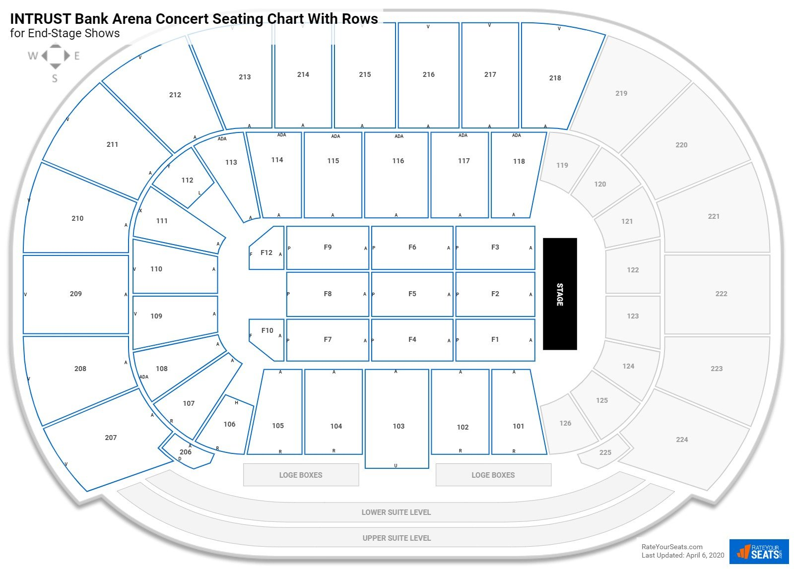 INTRUST Bank Arena seating chart with rows concert