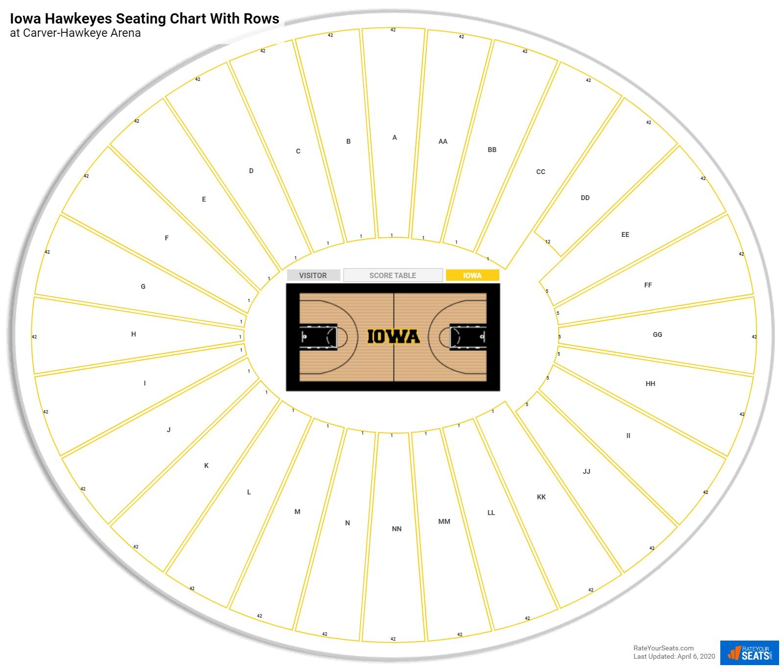 Carver-Hawkeye Arena seating chart with rows