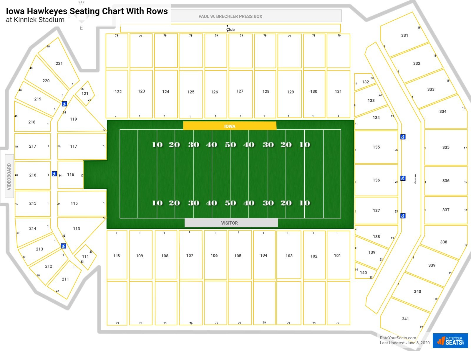 Kinnick Stadium seating chart with rows