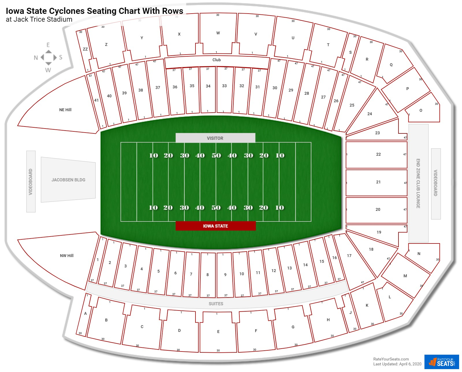 Jack Trice Stadium seating chart with rows