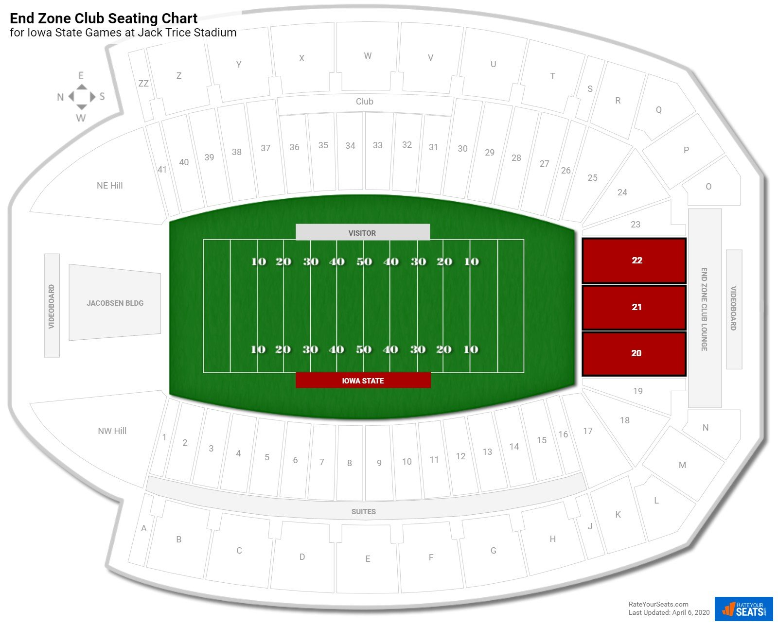Jack Trice Stadium End Zone Club seating chart