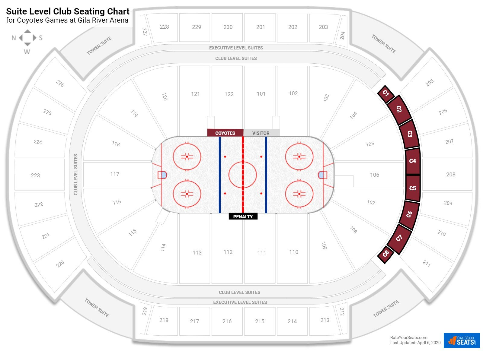 Gila River Arena Club Level seating chart