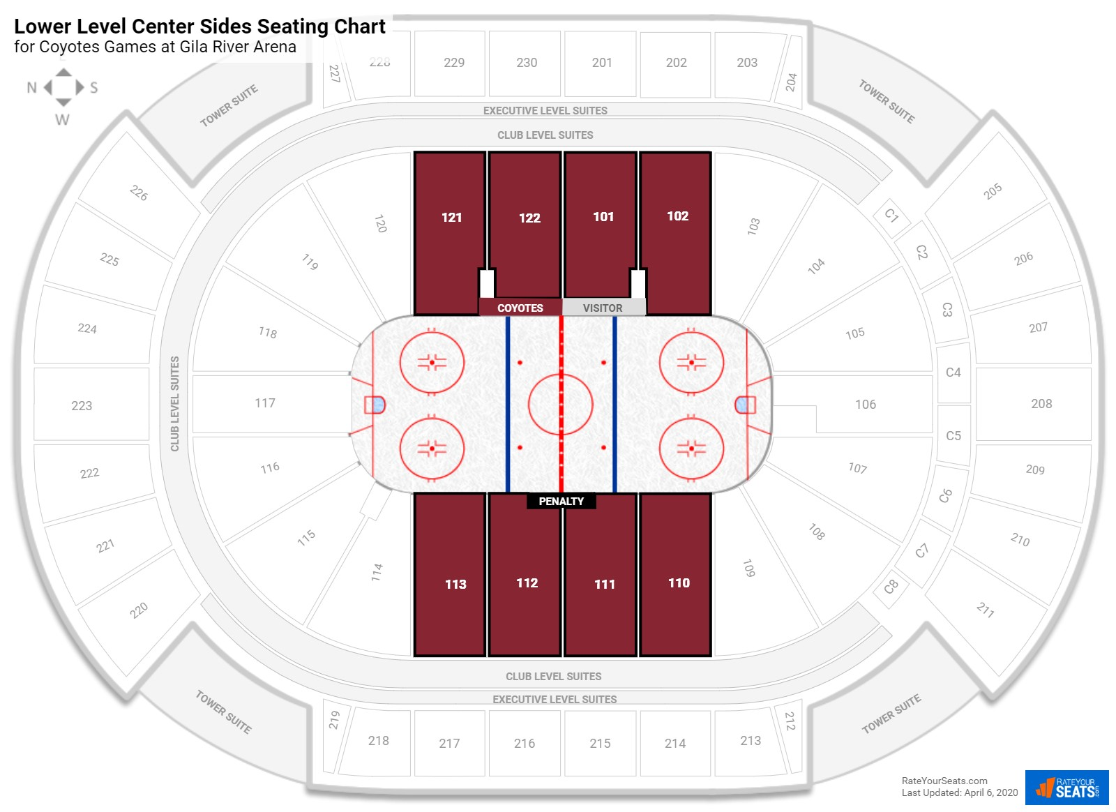 Gila River Arena Lower Level Center seating chart
