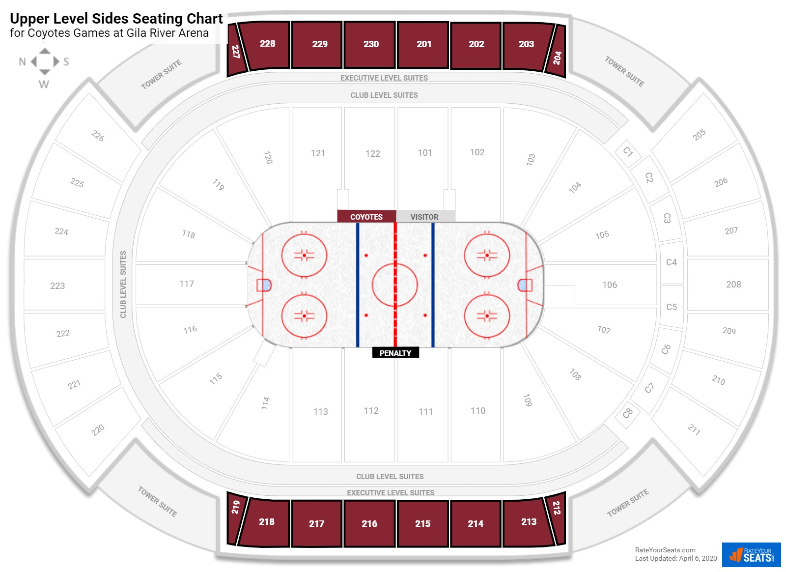 Gila River Arena Upper Level Side seating chart