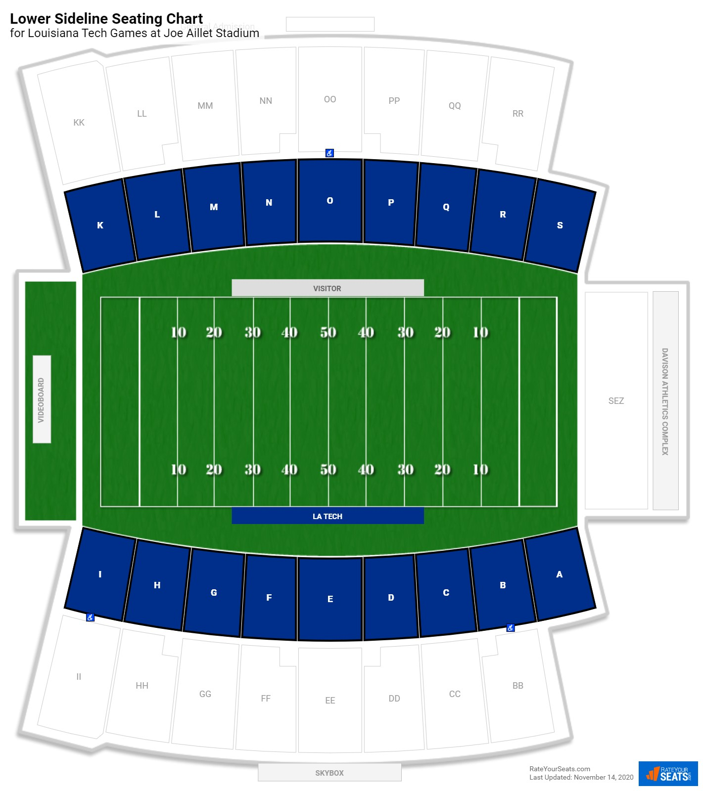 Joe Aillet Stadium Lower Sideline seating chart