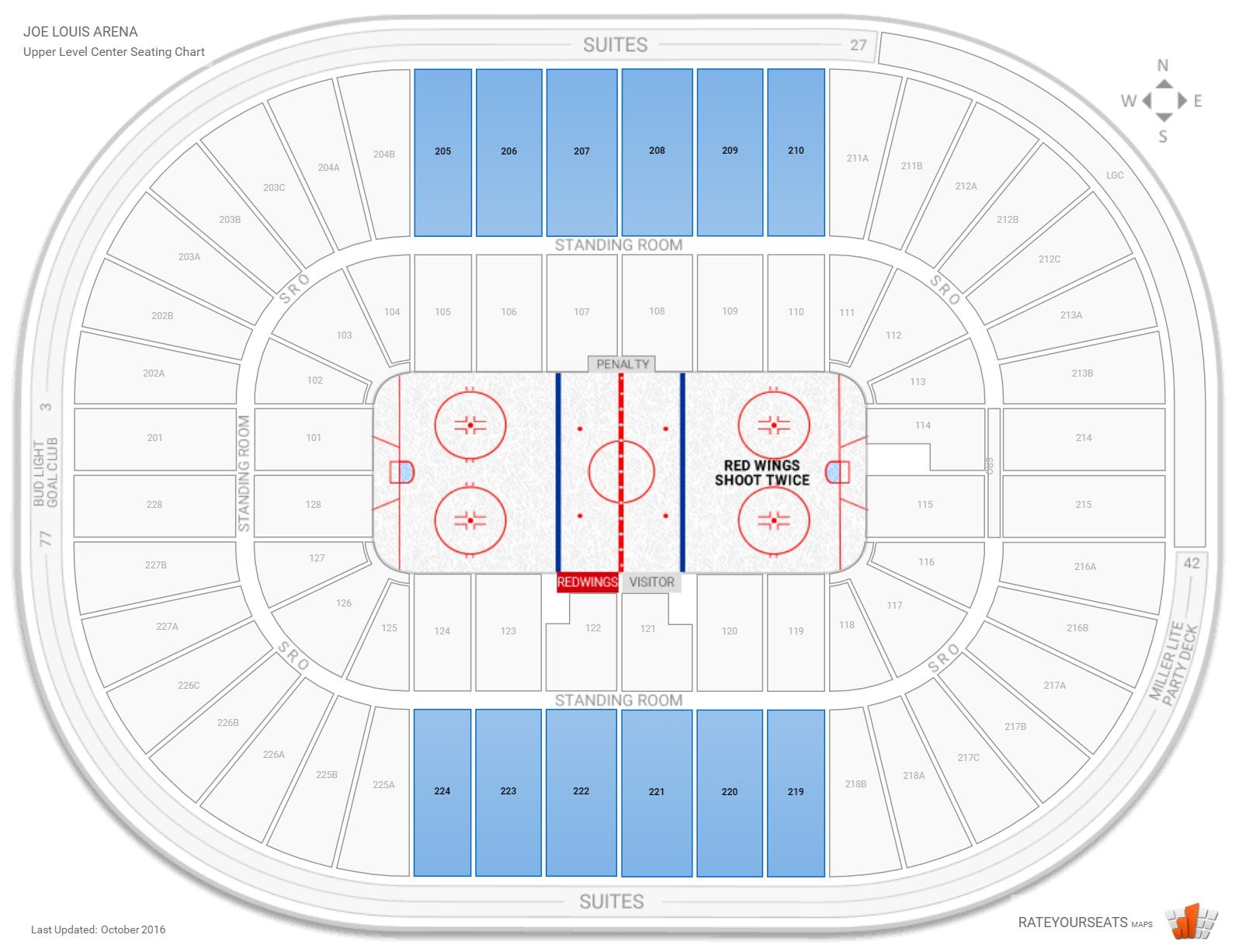 Joe Louis Arena Upper Level Center seating chart