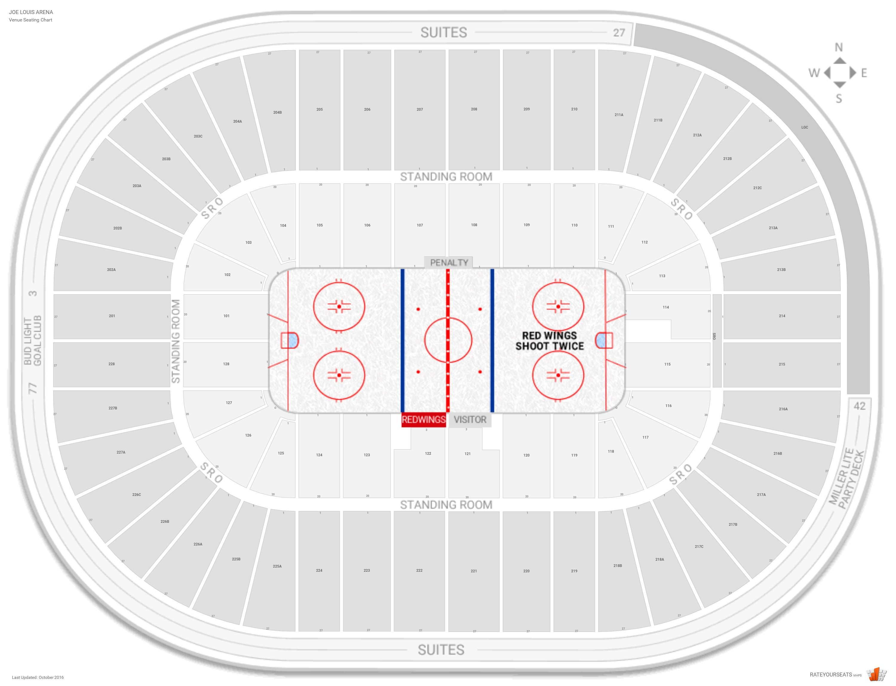 Joe louis arena seating guide rateyourseats com