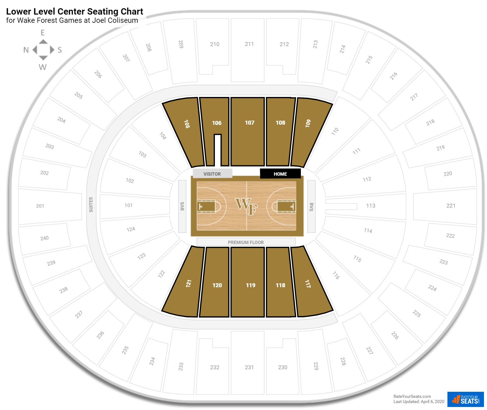 Joel Coliseum  Lower Level Center seating chart