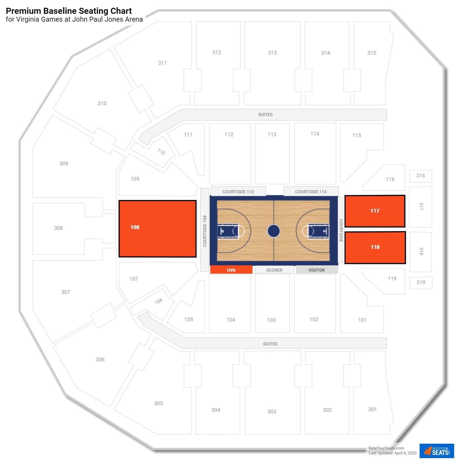 John Paul Jones Arena Lower Level Baseline Seating Chart