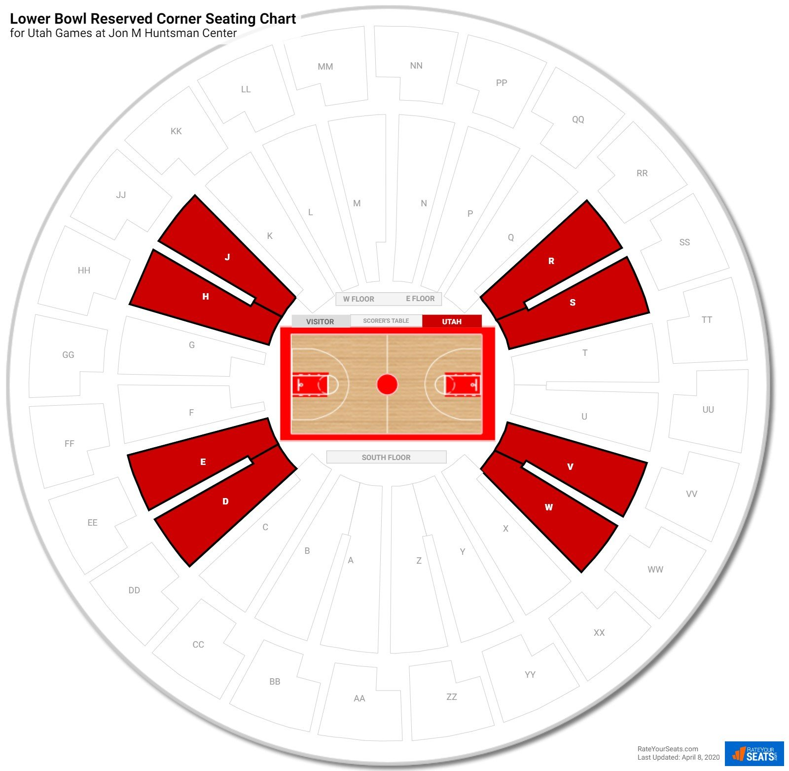 Jon M Huntsman Center Lower Corner seating chart