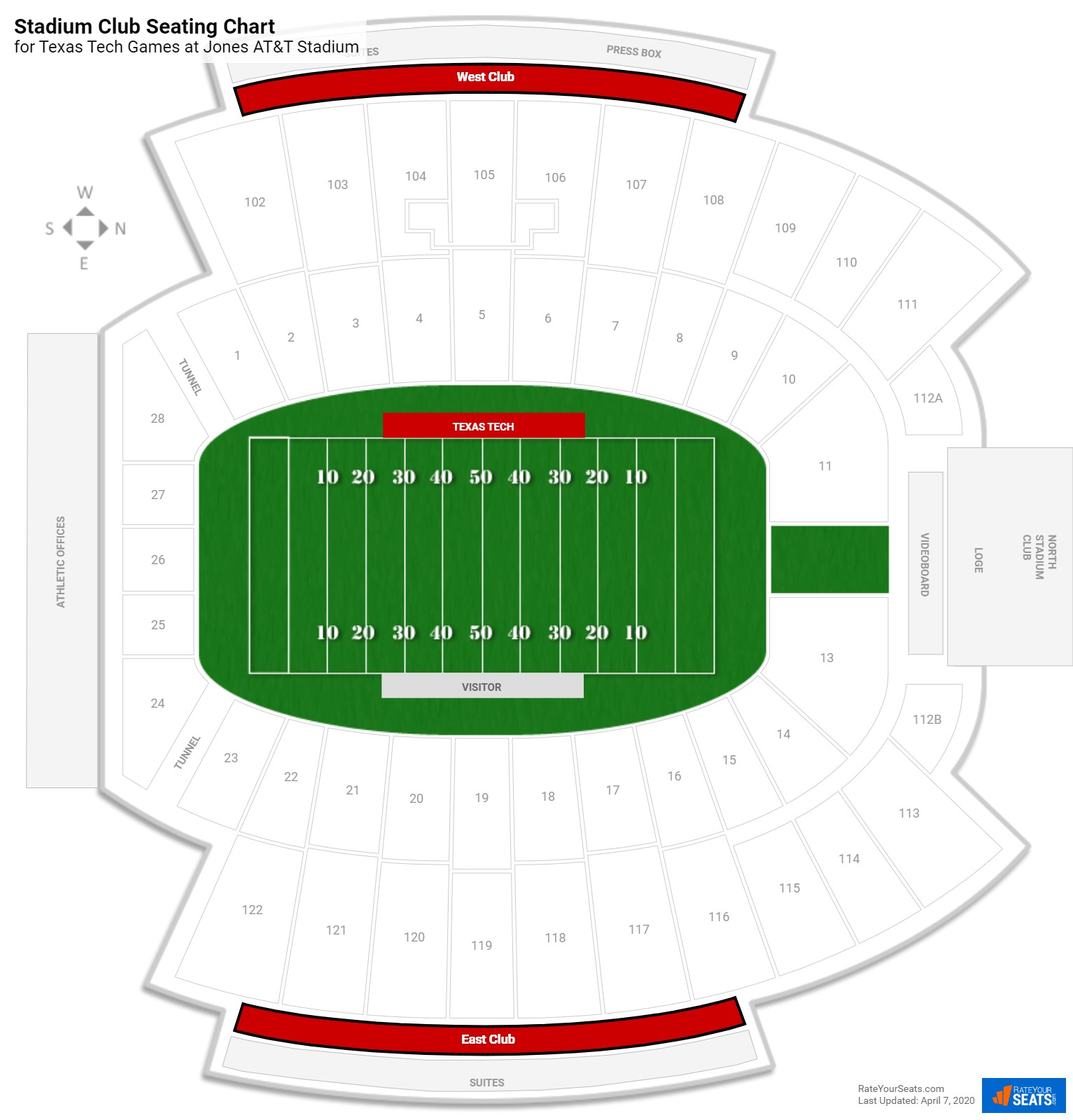 Jones AT&T Stadium Stadium Club seating chart