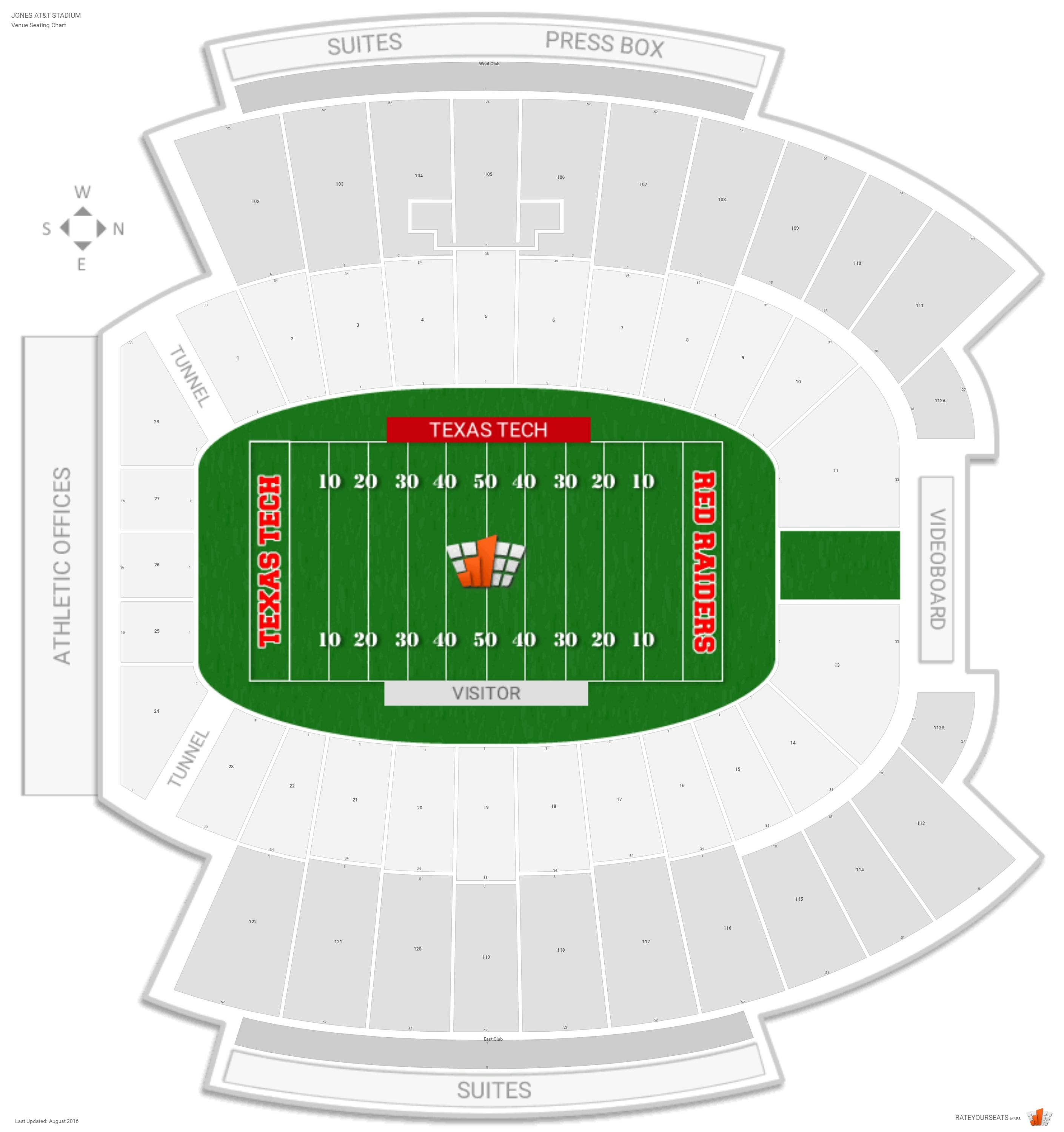 Jones At T Stadium Seating Chart With Row Numbers