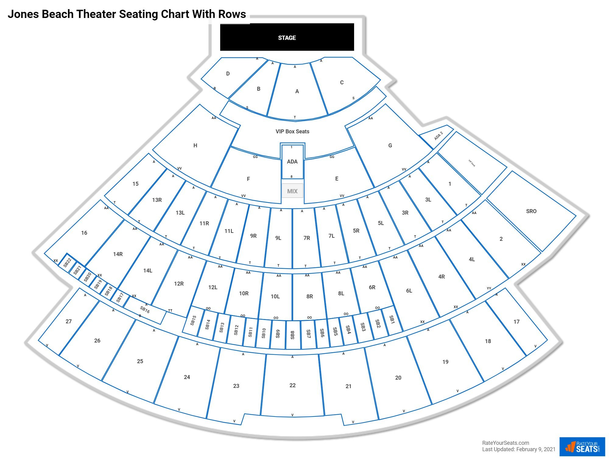 Jones Beach Theater seating chart with rows