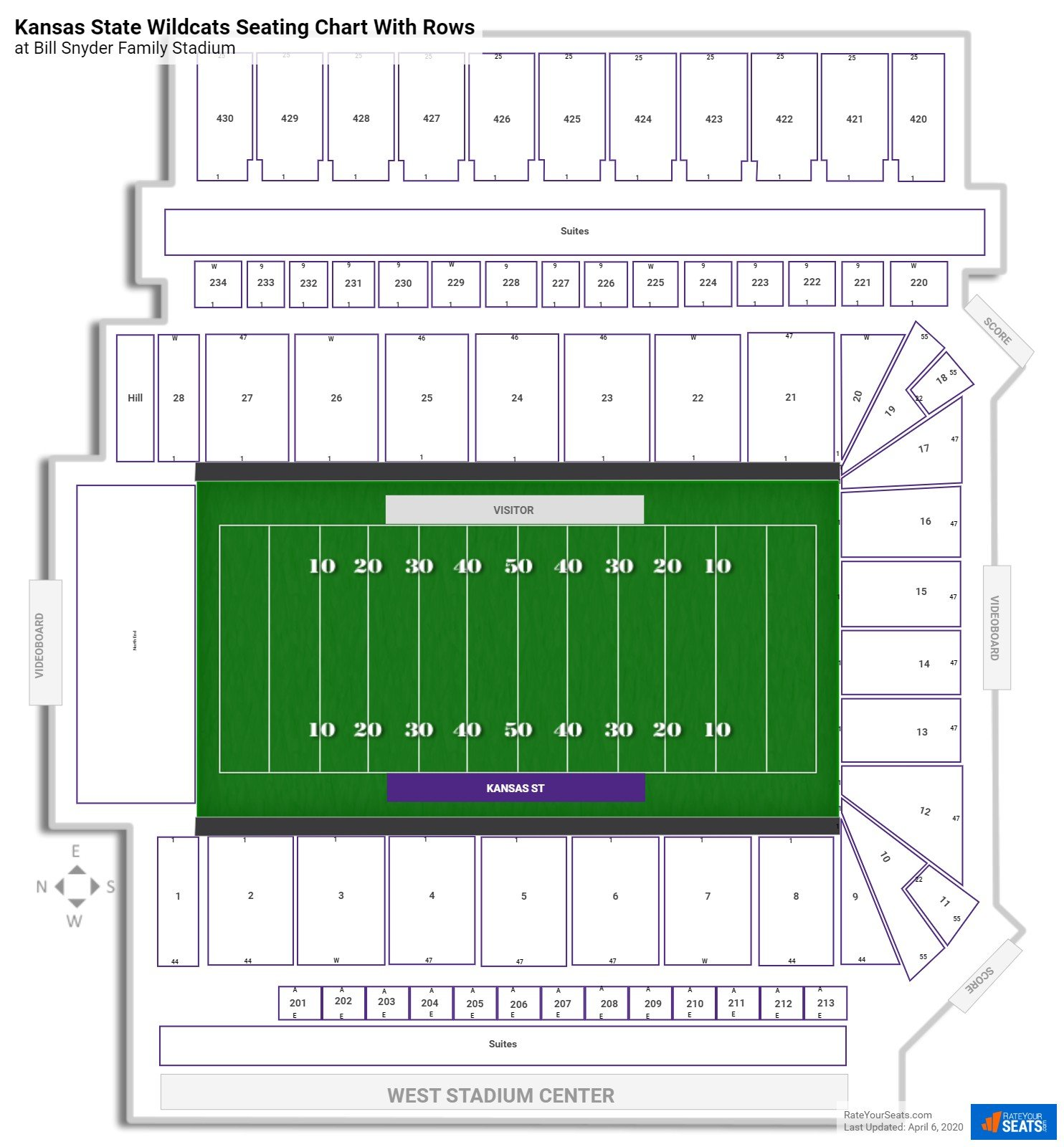 Bill Snyder Family Stadium seating chart with rows