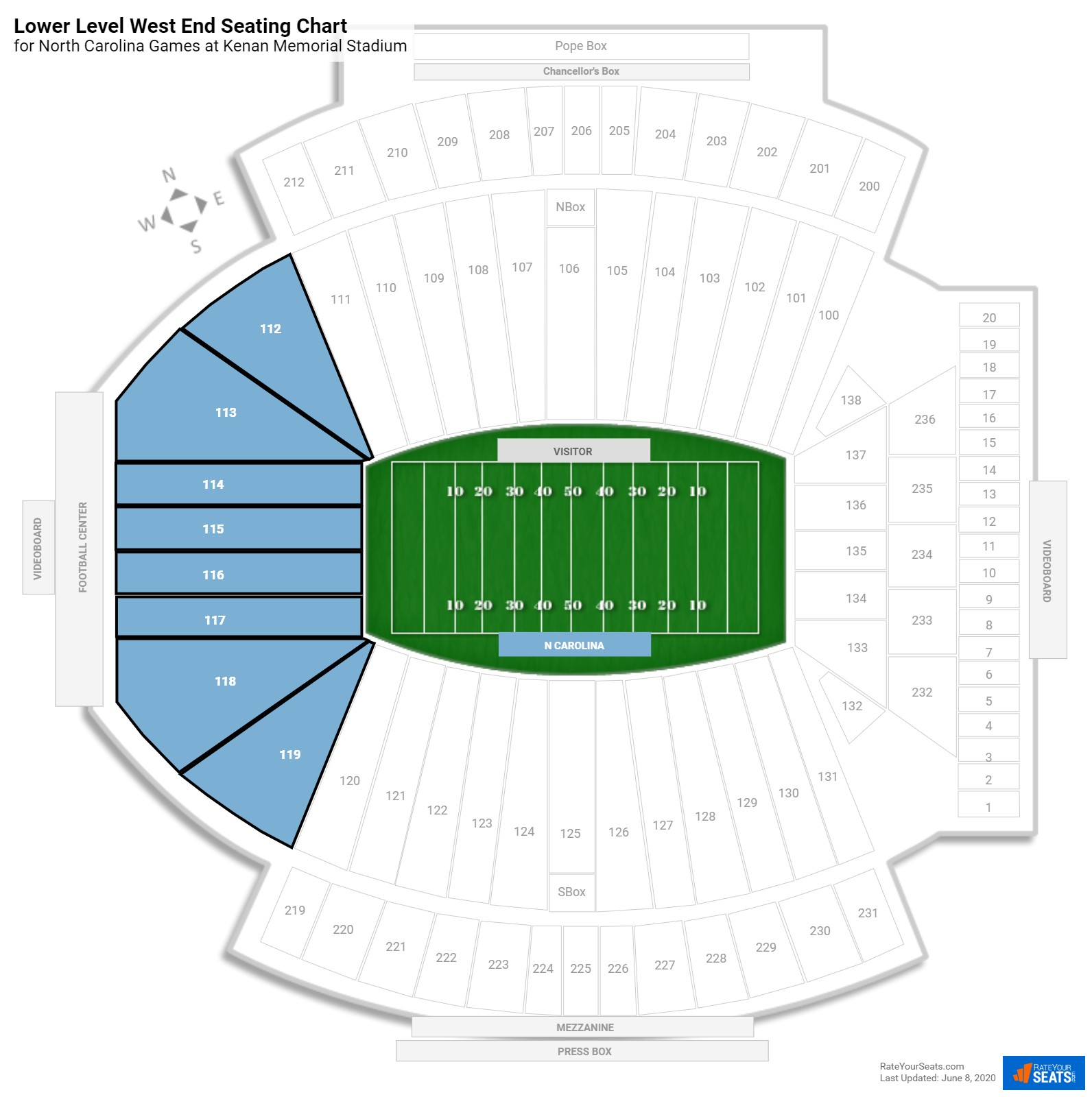 Kenan Memorial Stadium Lower Level West End seating chart