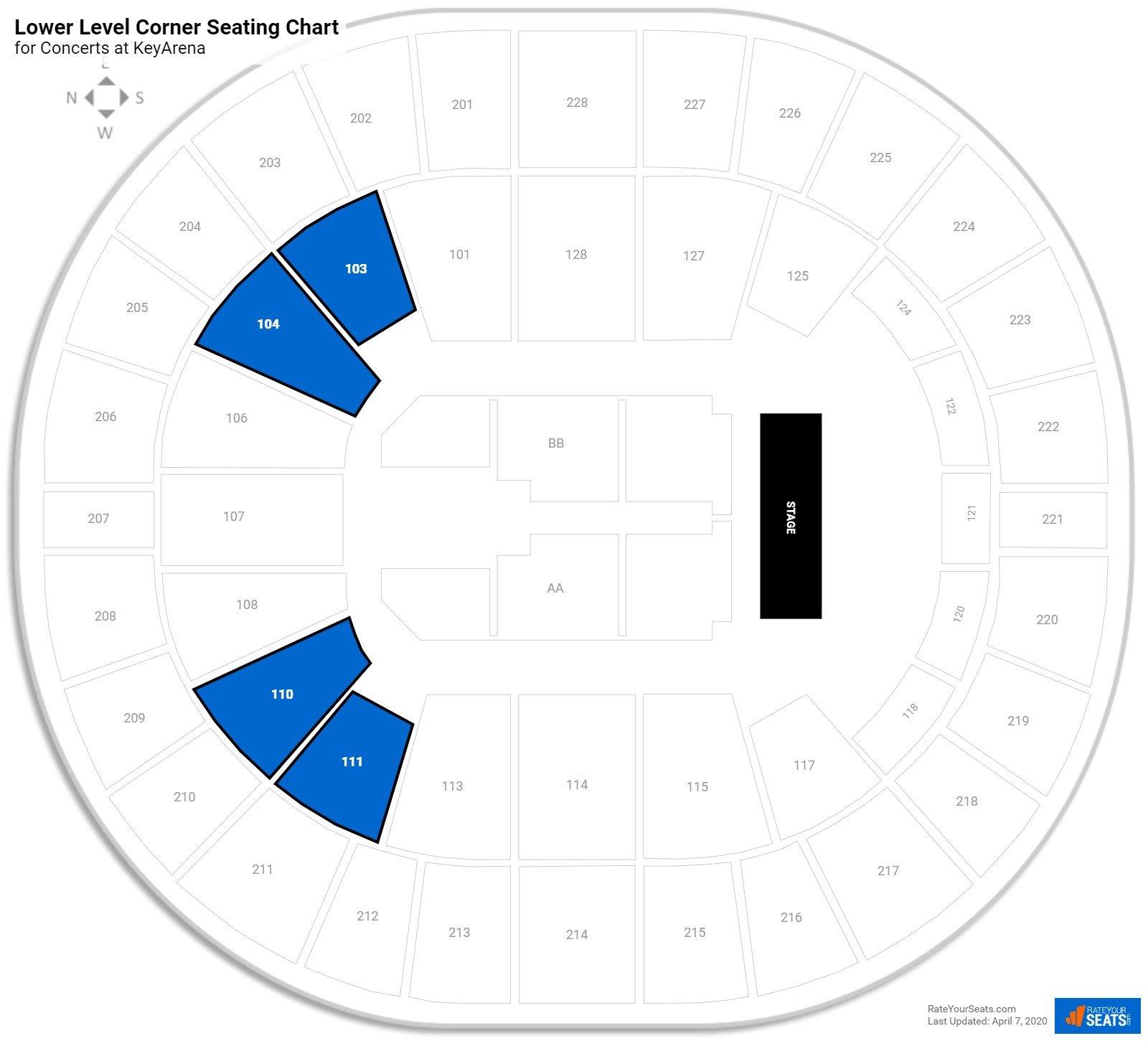Lower Level Corner Keyarena Concert Seating