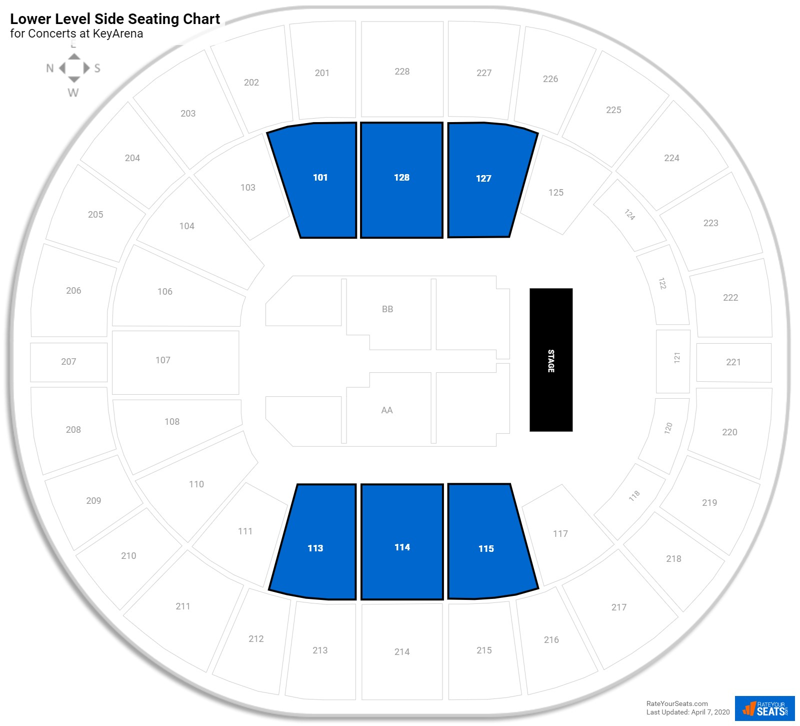 KeyArena Lower Level Side seating chart