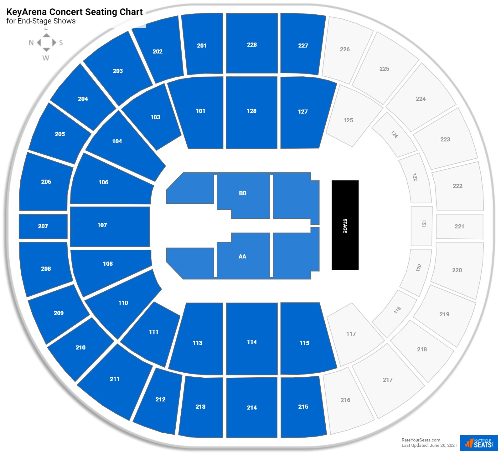 KeyArena Seating Chart for Concerts