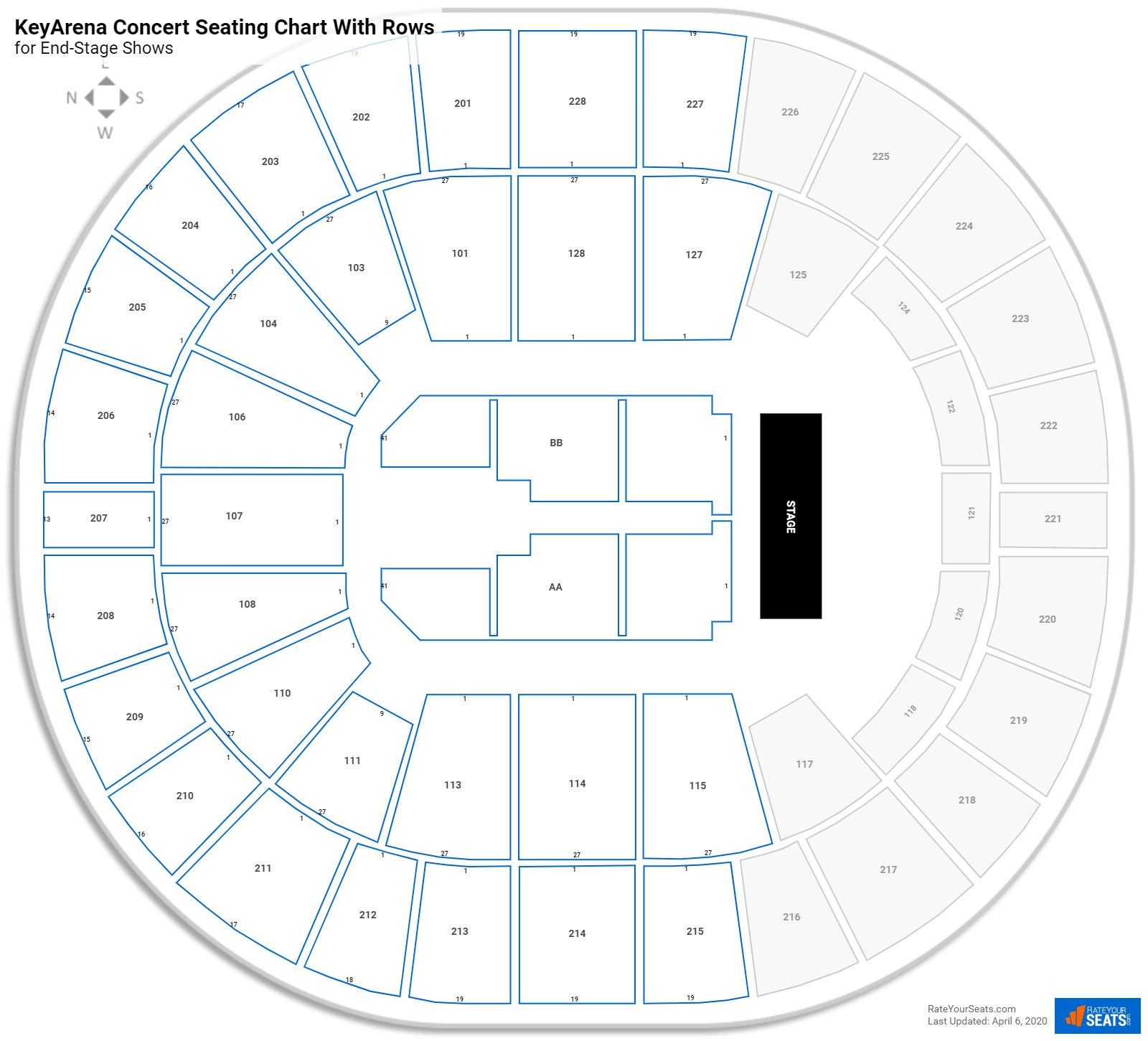 KeyArena seating chart with rows concert