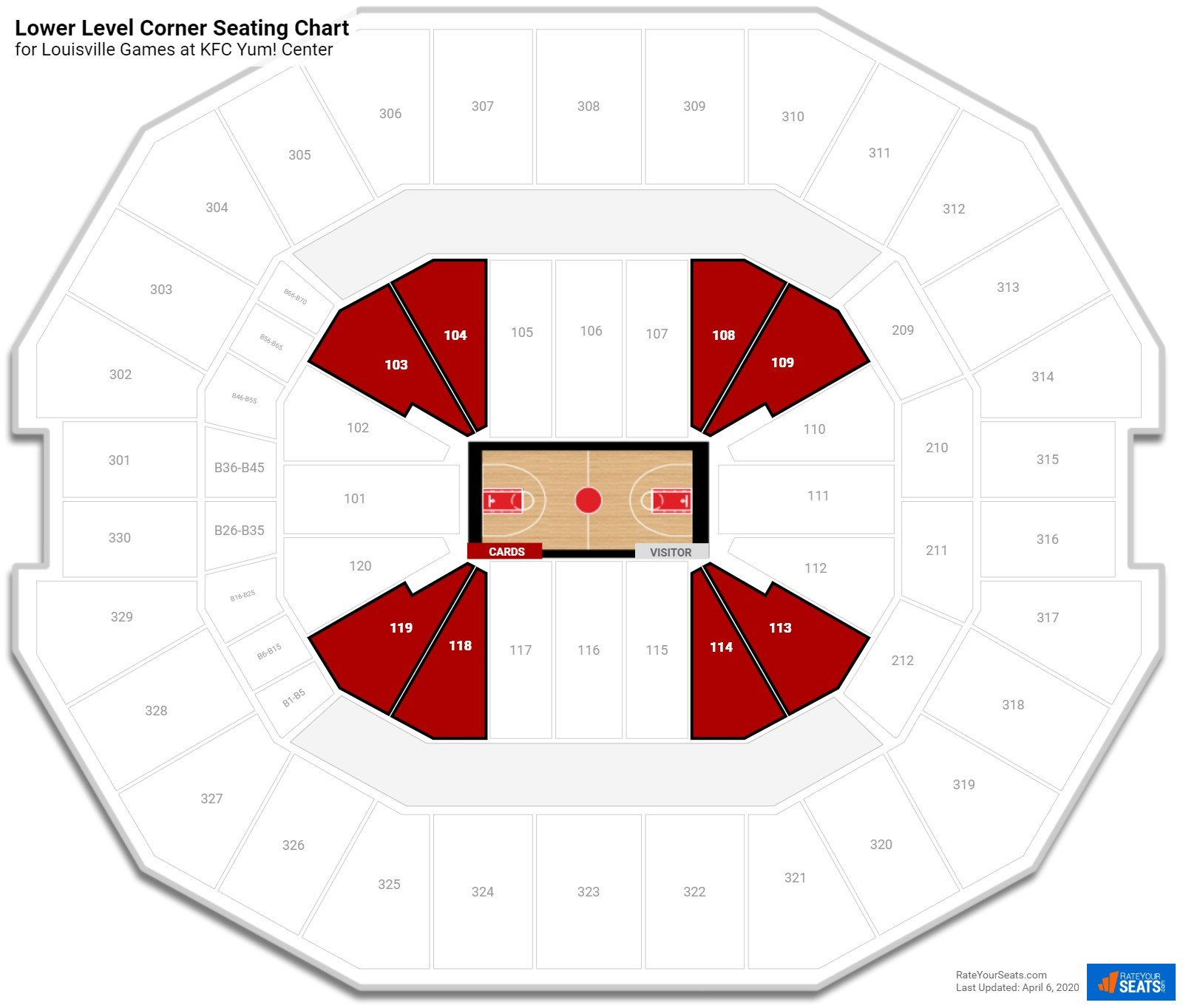 KFC Yum! Center Lower Level Corner seating chart