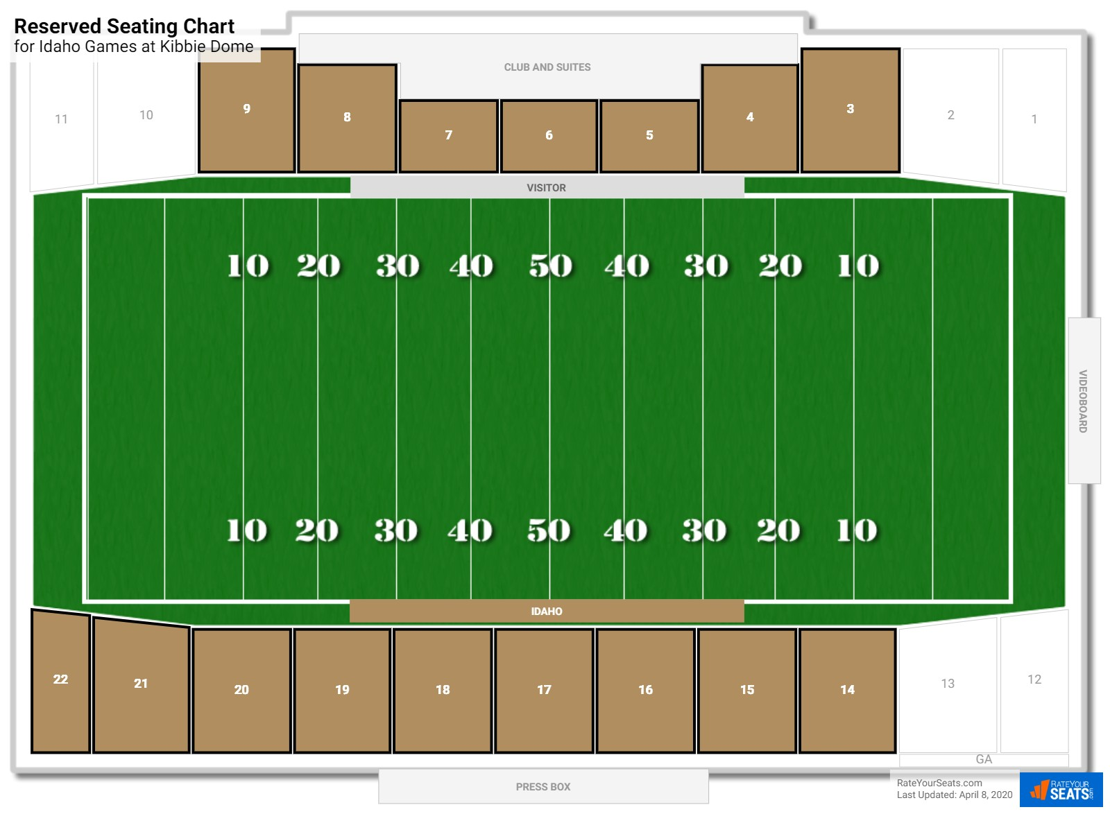 Kibbie Dome Reserved seating chart