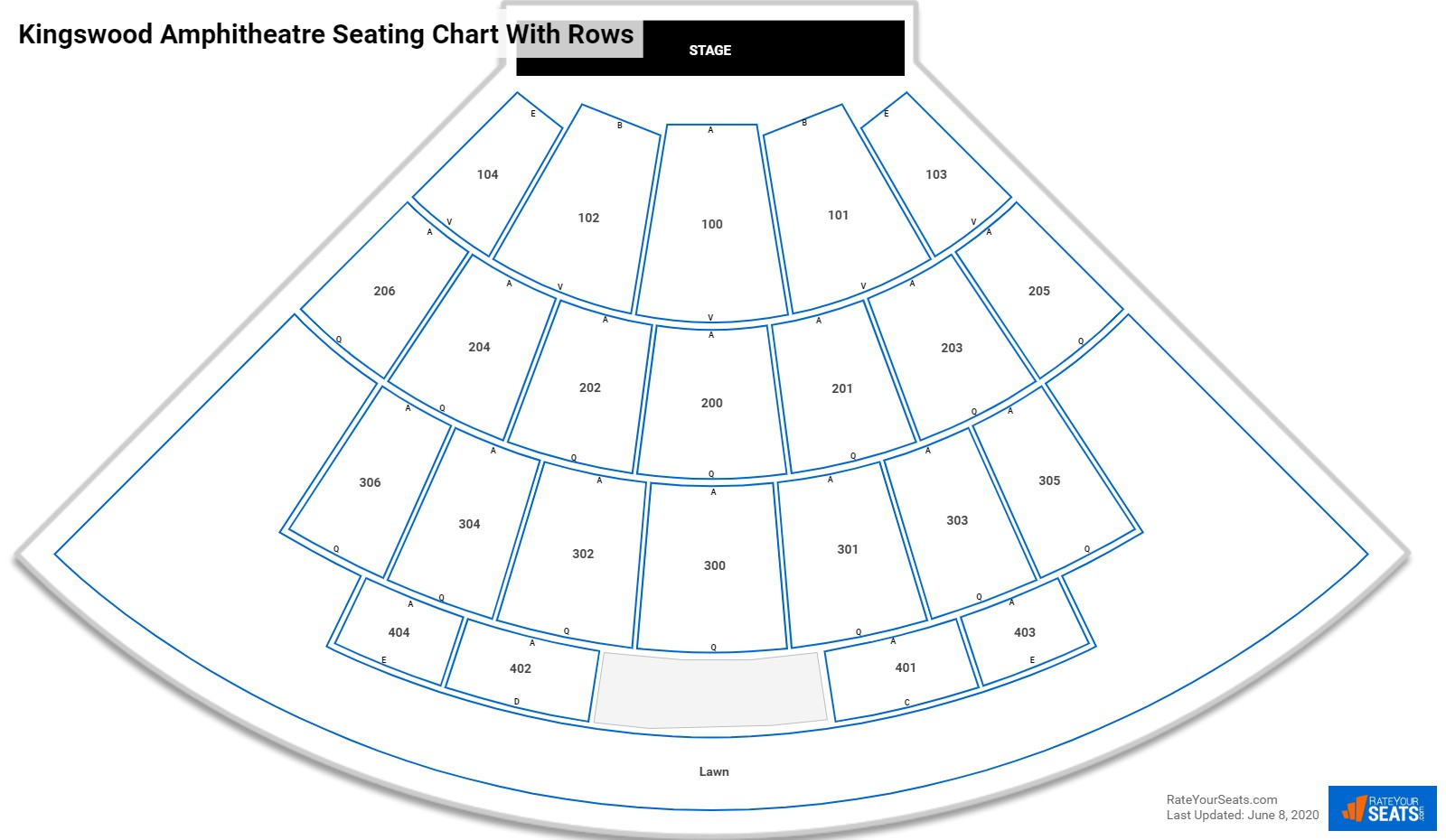 Kingswood Amphitheatre seating chart with rows
