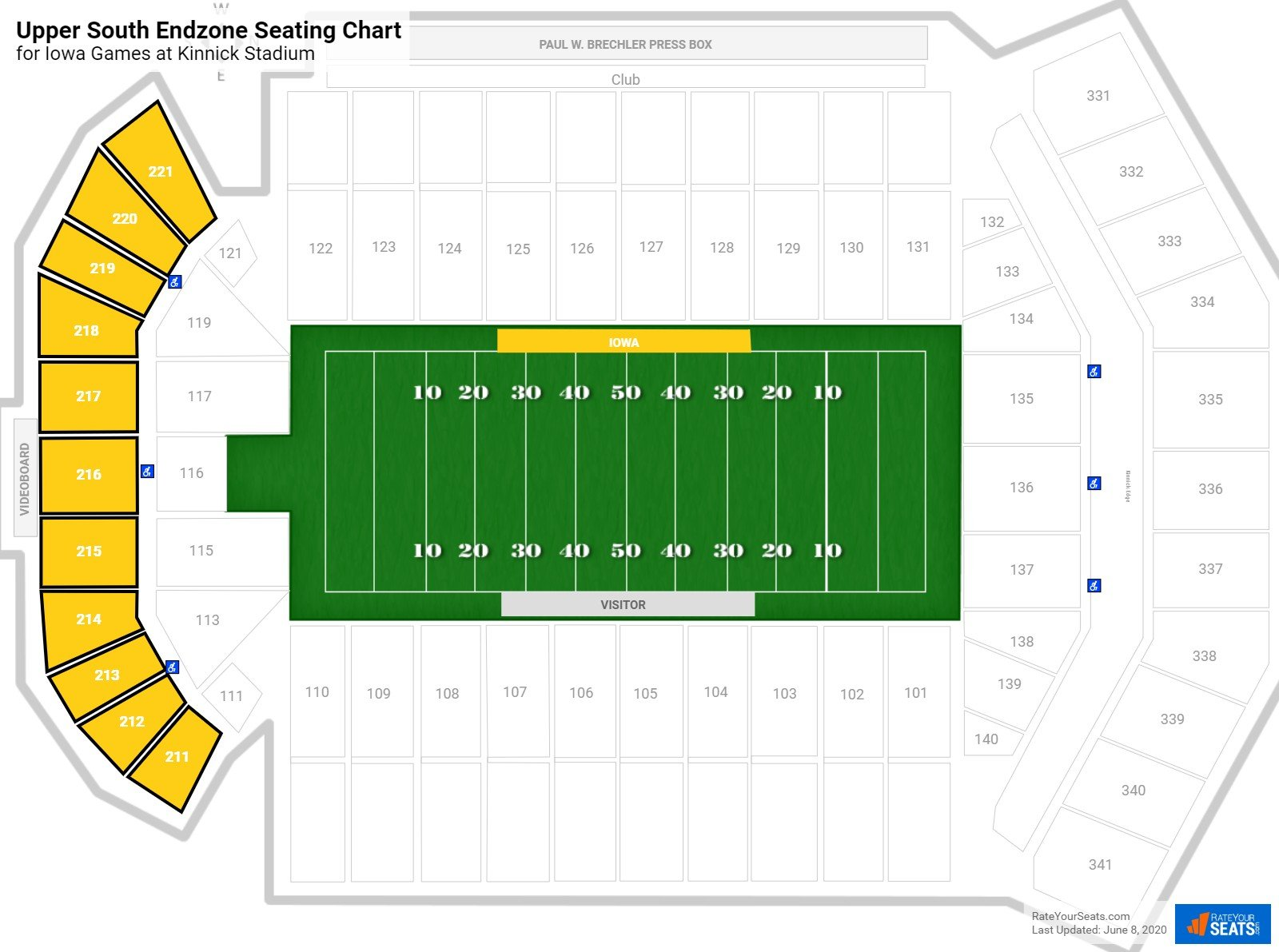 Kinnick Stadium Upper South Endzone seating chart