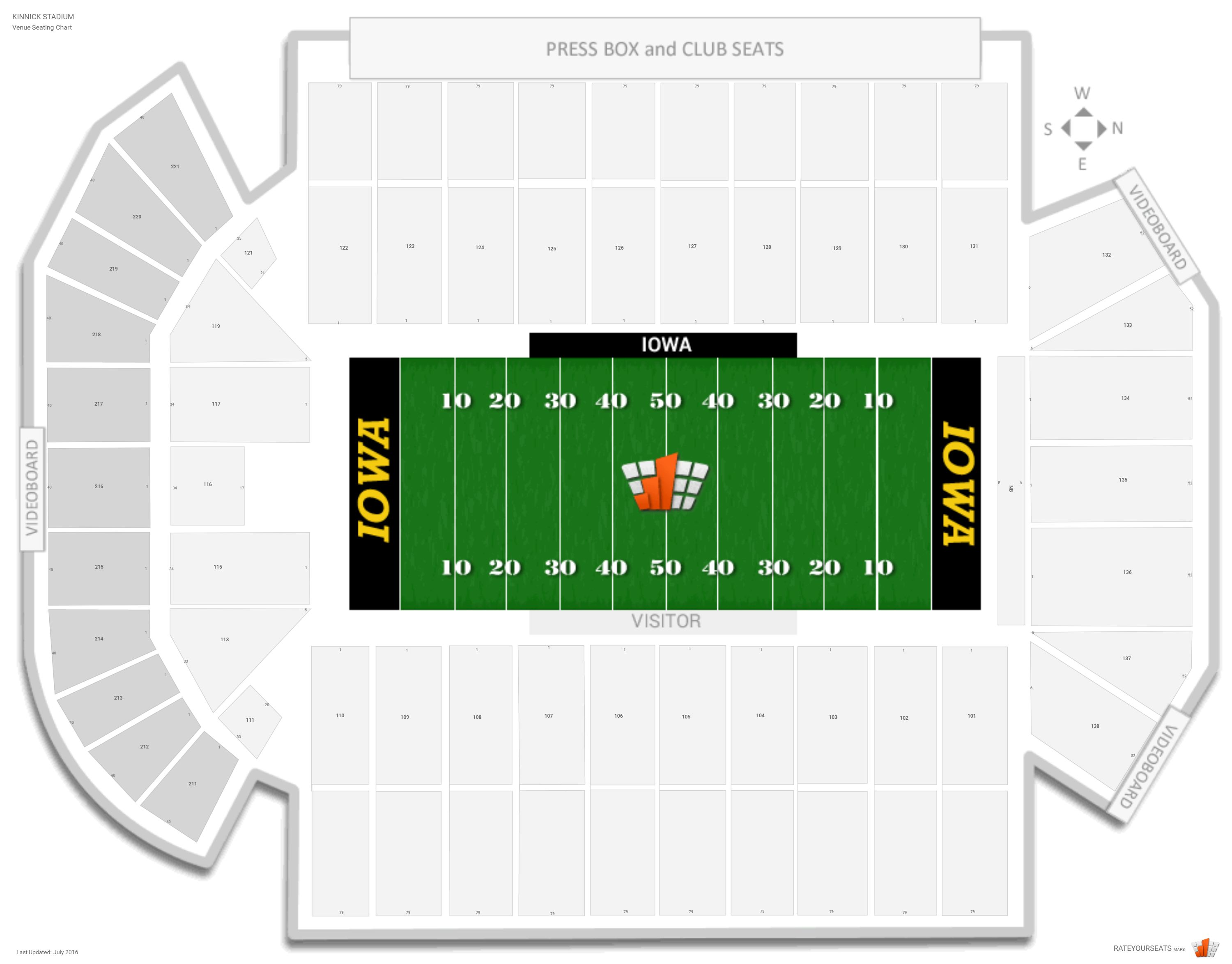 Kinnick Stadium Seating Chart with Row Numbers