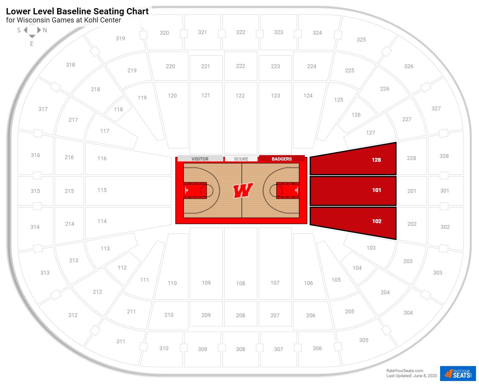 Kohl Center Lower Level Baseline Seating Chart