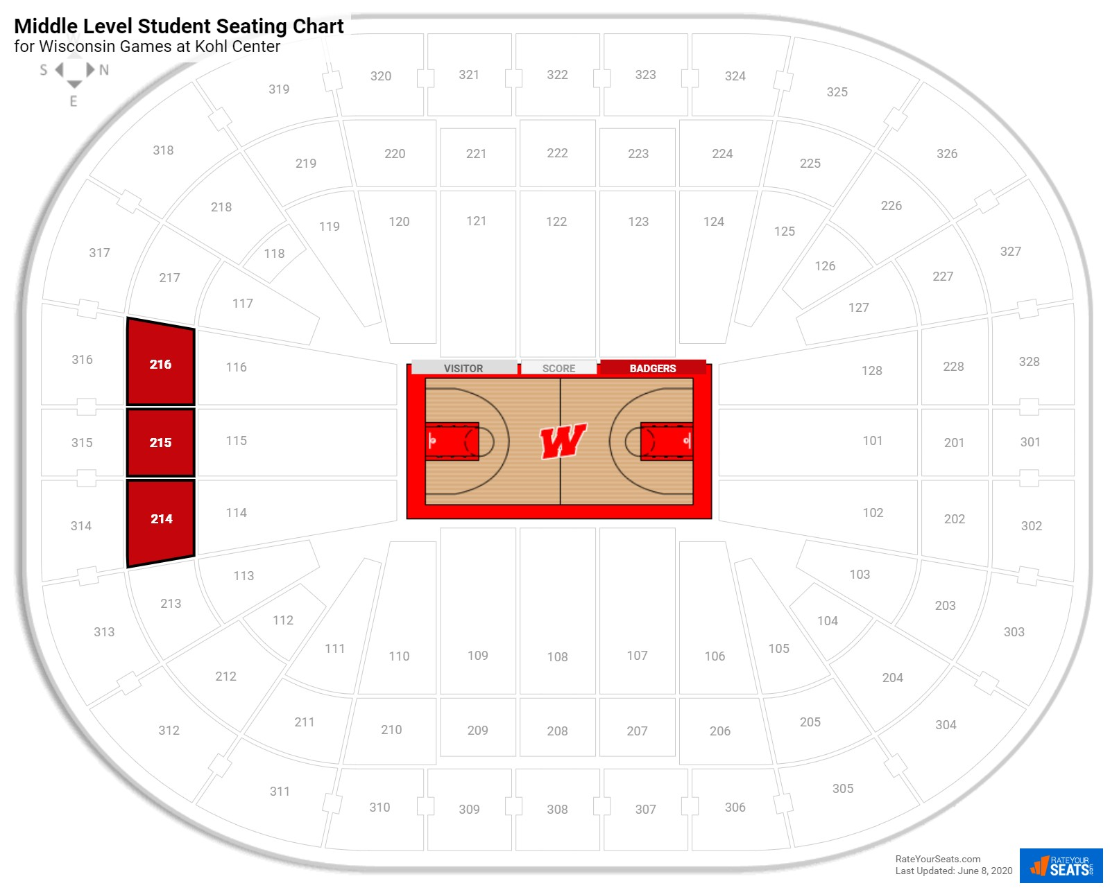 Kohl Center Middle Level Student seating chart