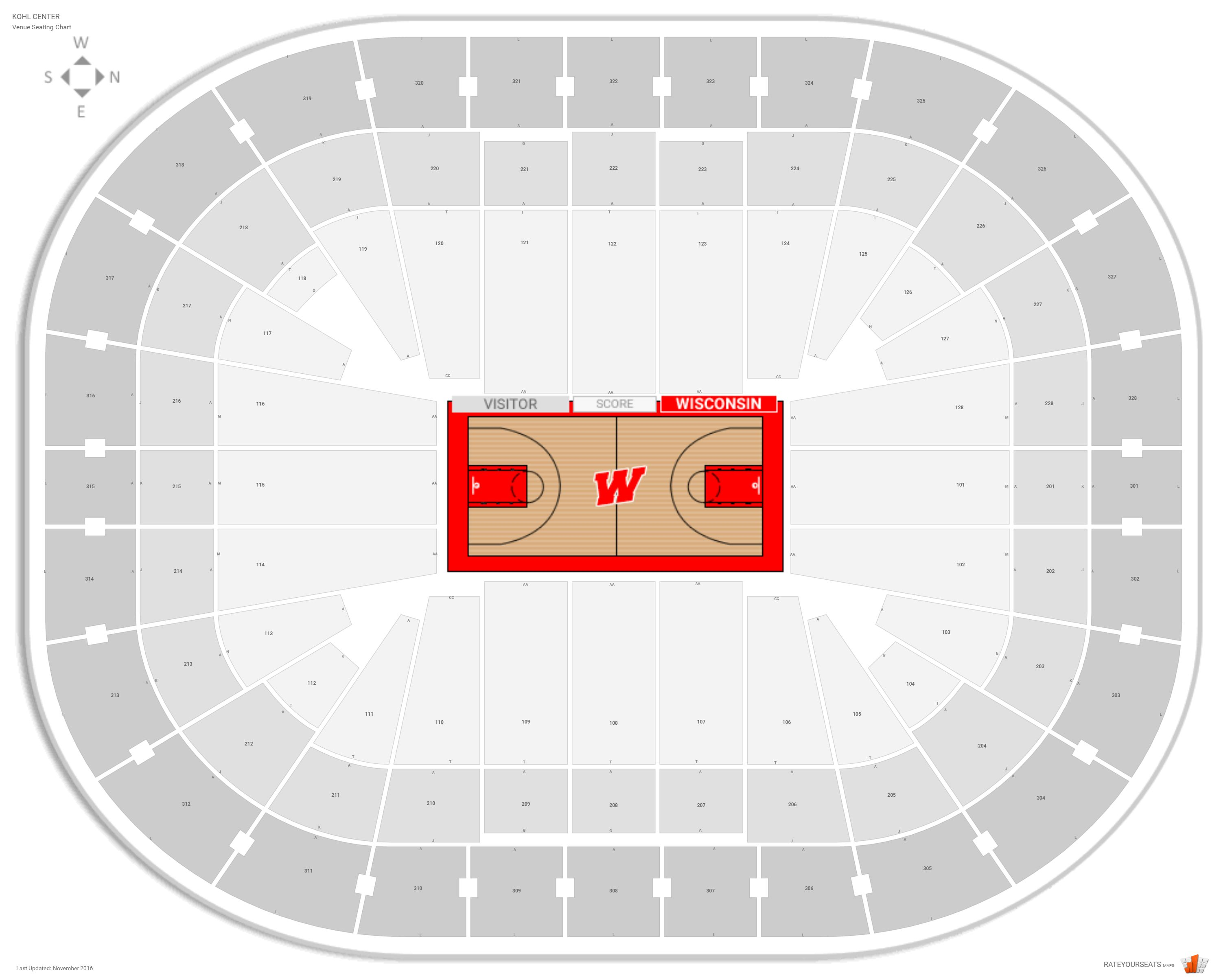 Kohl Center  Wisconsin  Seating Guide