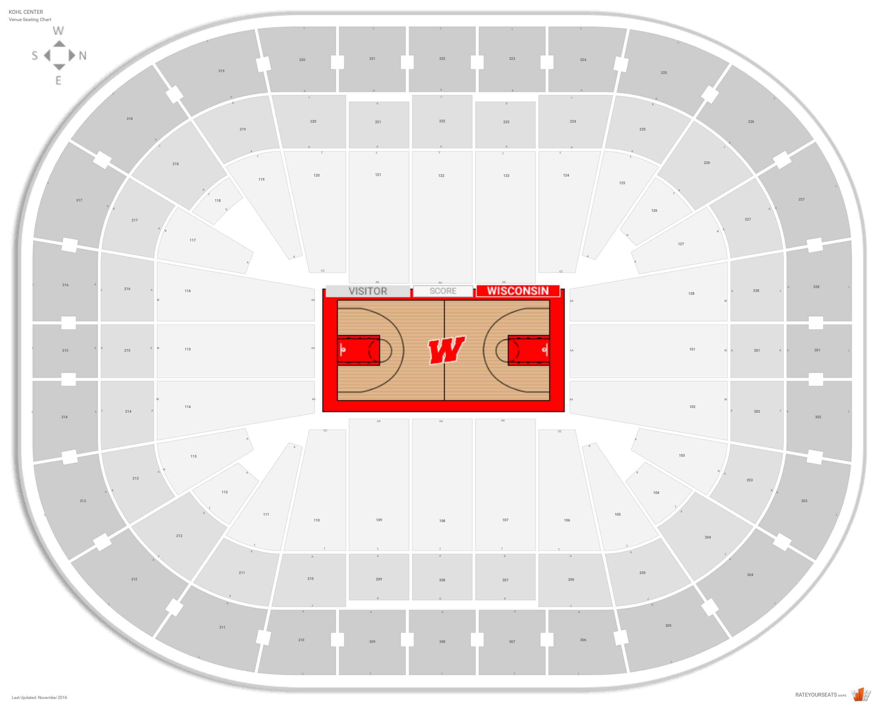Kohl Center Seating Chart With Row Numbers