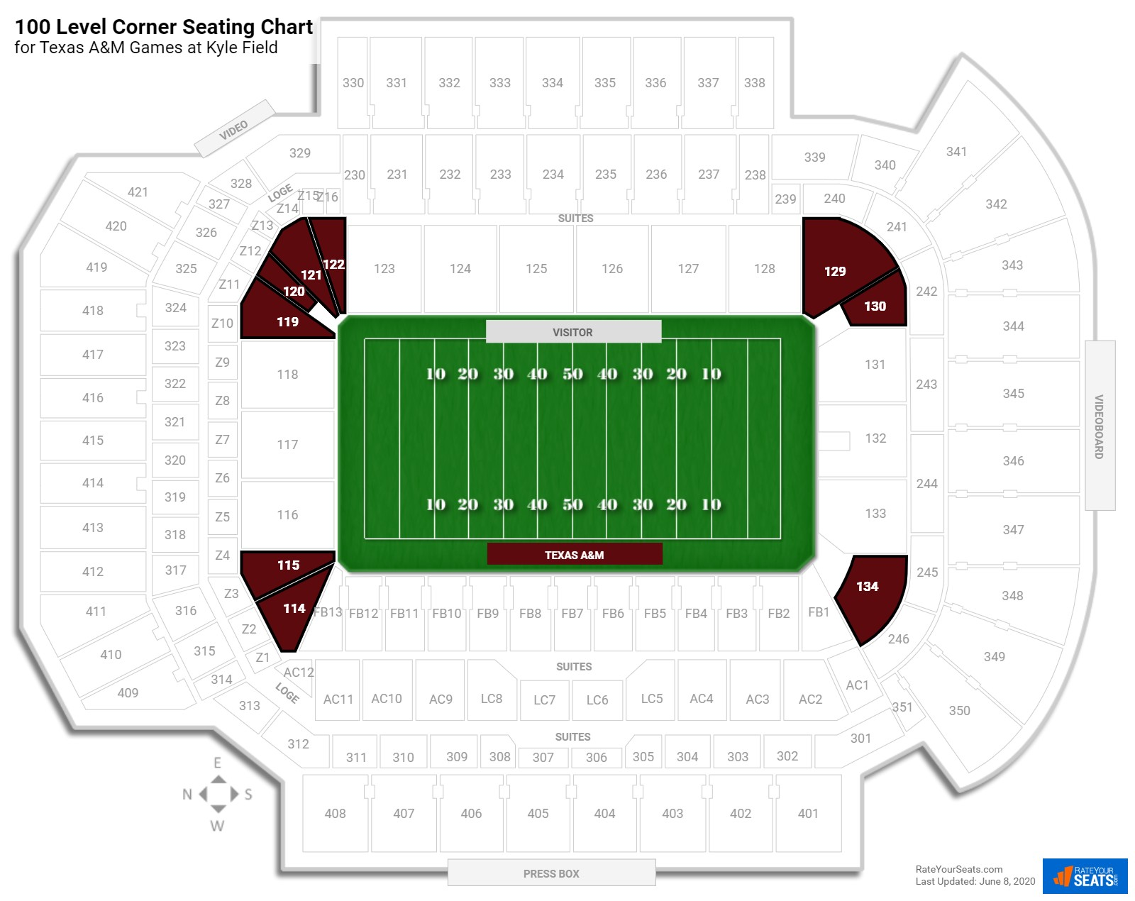 Kyle Field 100 Level Corner seating chart