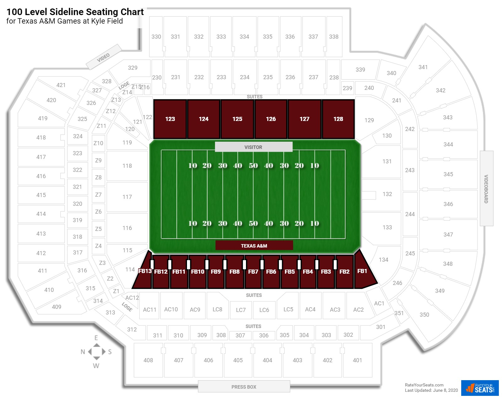 Kyle Field 100 Level Sideline seating chart