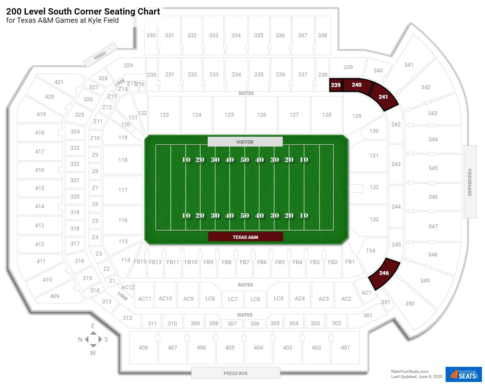 Kyle Field 200 Level South Corner seating chart