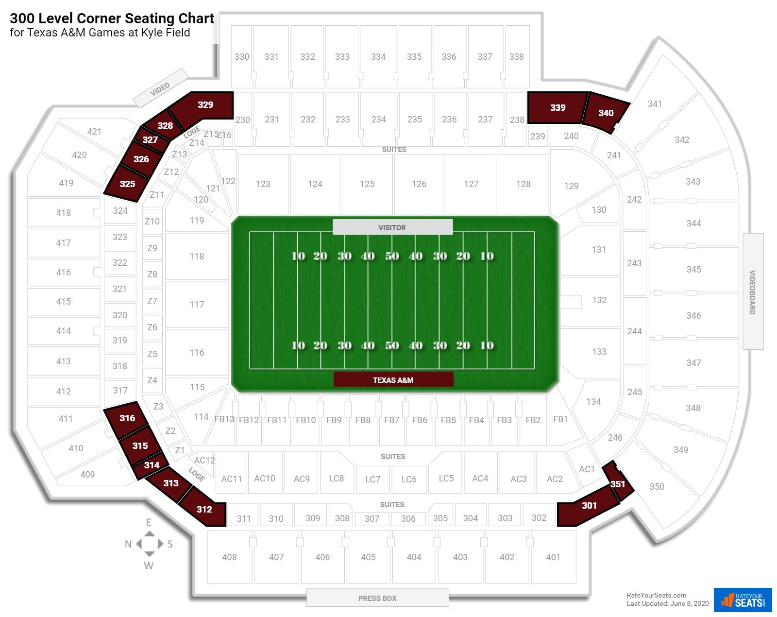 Kyle Field 300 Level Corner seating chart