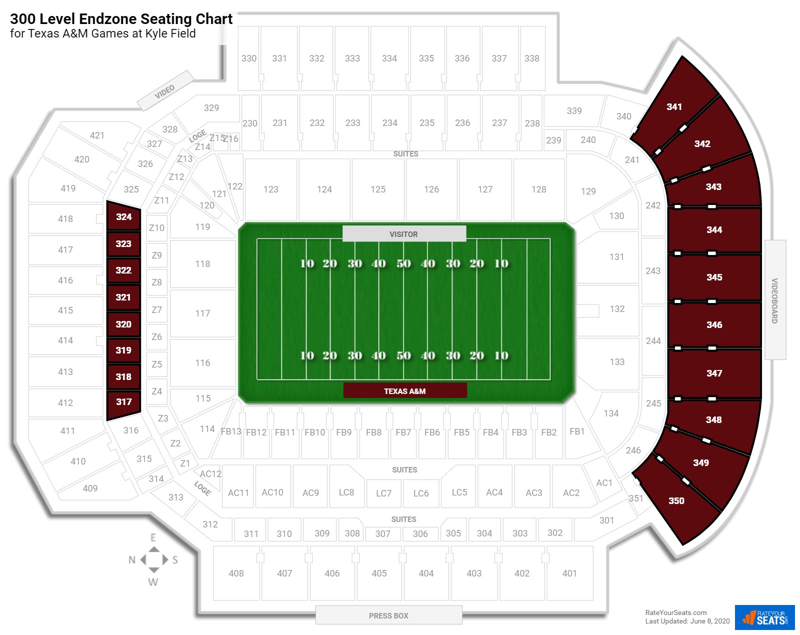 Kyle Field 300 Level Endzone seating chart
