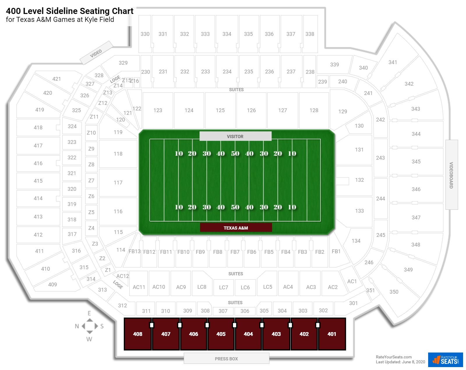 Kyle Field 400 Level Sideline seating chart
