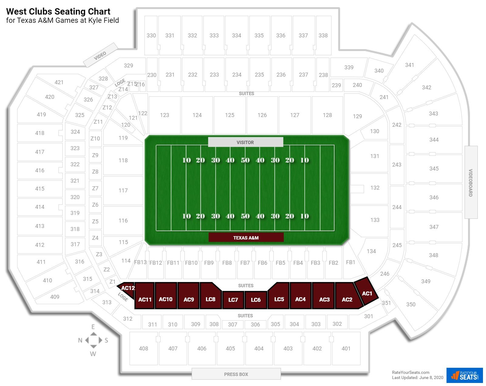 Kyle Field West Clubs seating chart